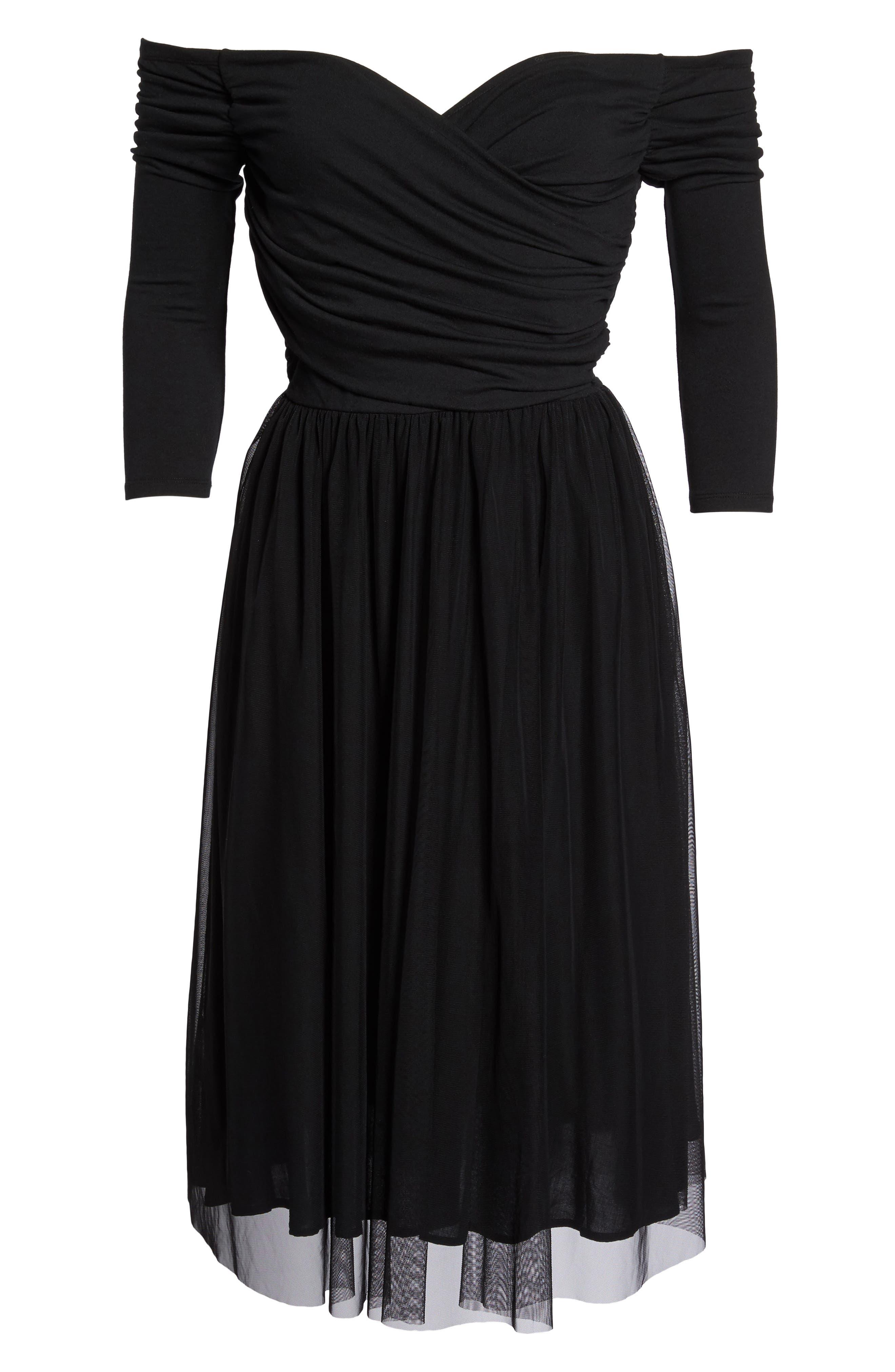 Tulle Fit & Flare Dress,                             Alternate thumbnail 6, color,                             Black