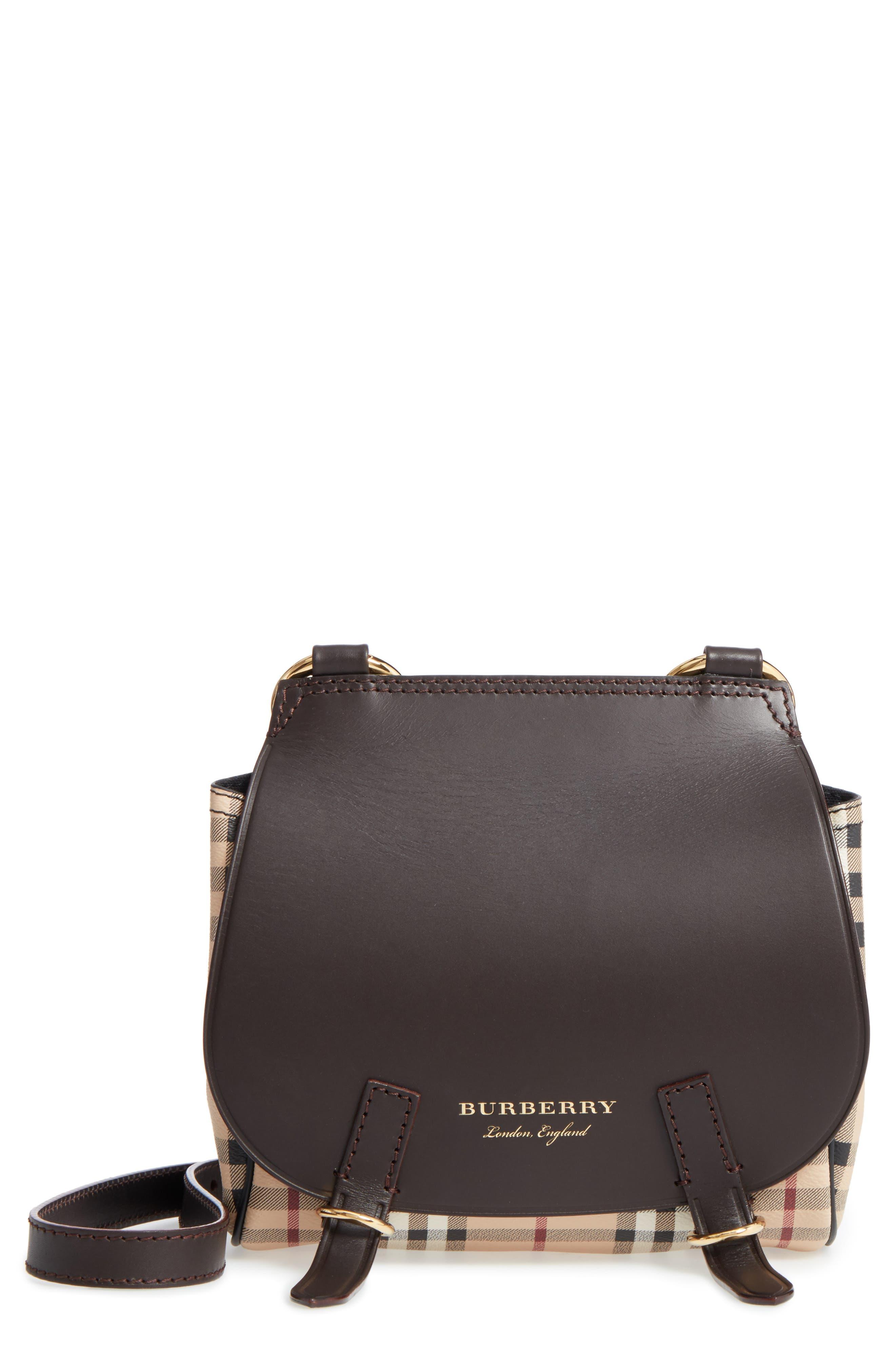 Burberry Bridle Leather & Check Shoulder Bag