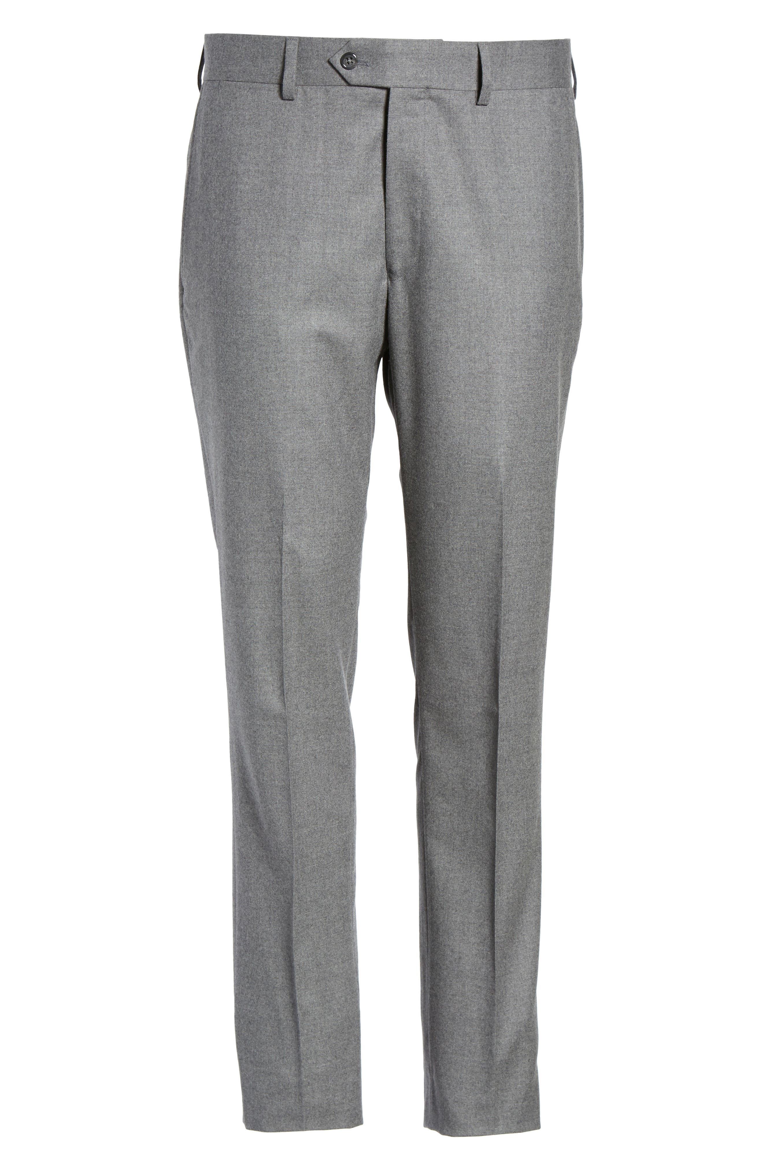 Sutton Flat Front Stretch Wool Trousers,                             Alternate thumbnail 6, color,                             Light Grey