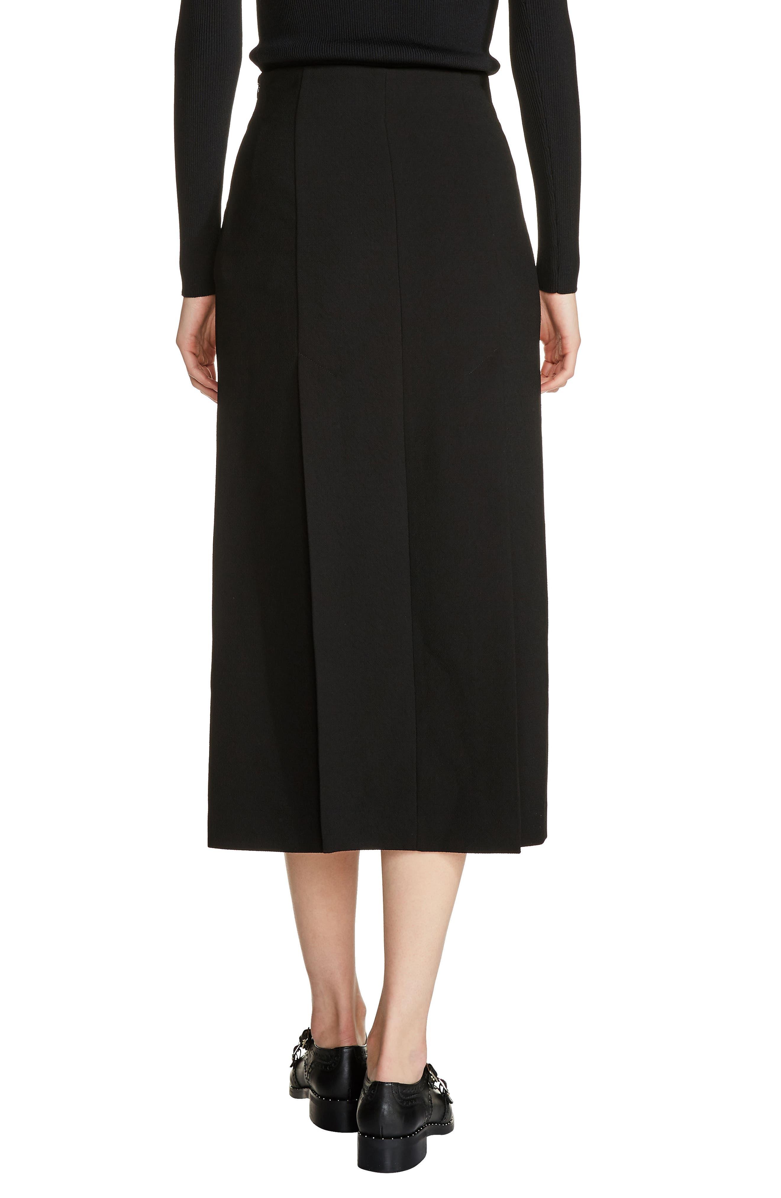 Zip Detail Midi Skirt,                             Alternate thumbnail 2, color,                             Black