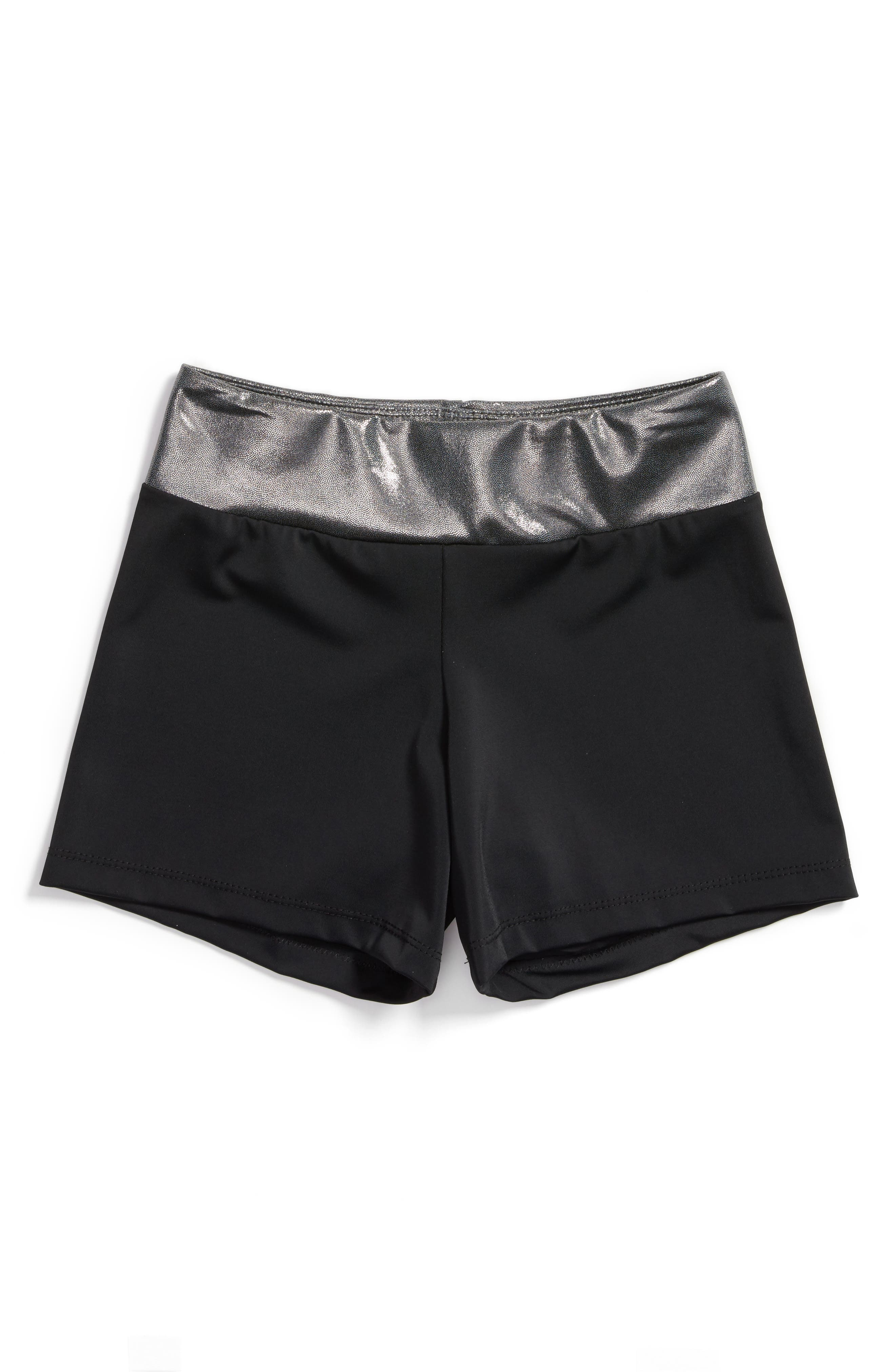 Girl Power Stretch Shorts,                         Main,                         color, Black/ Silver