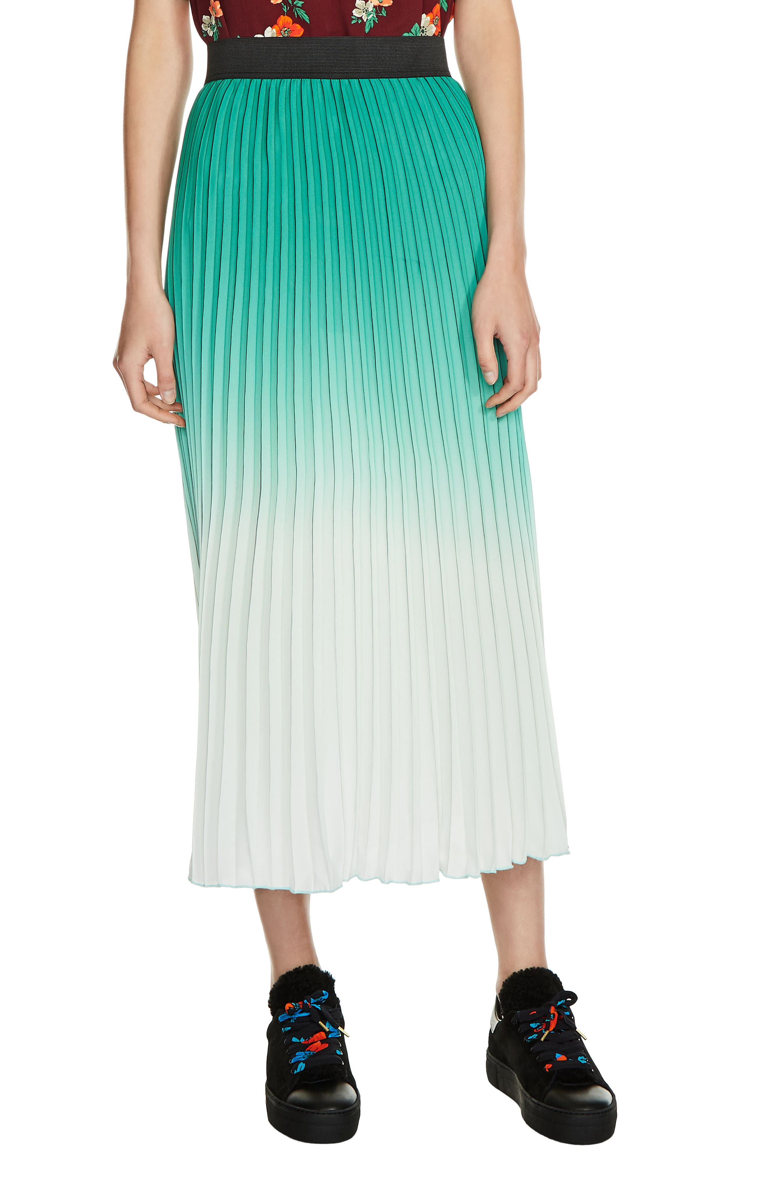 Dip Dye Pleated Midi Skirt,                         Main,                         color, Green