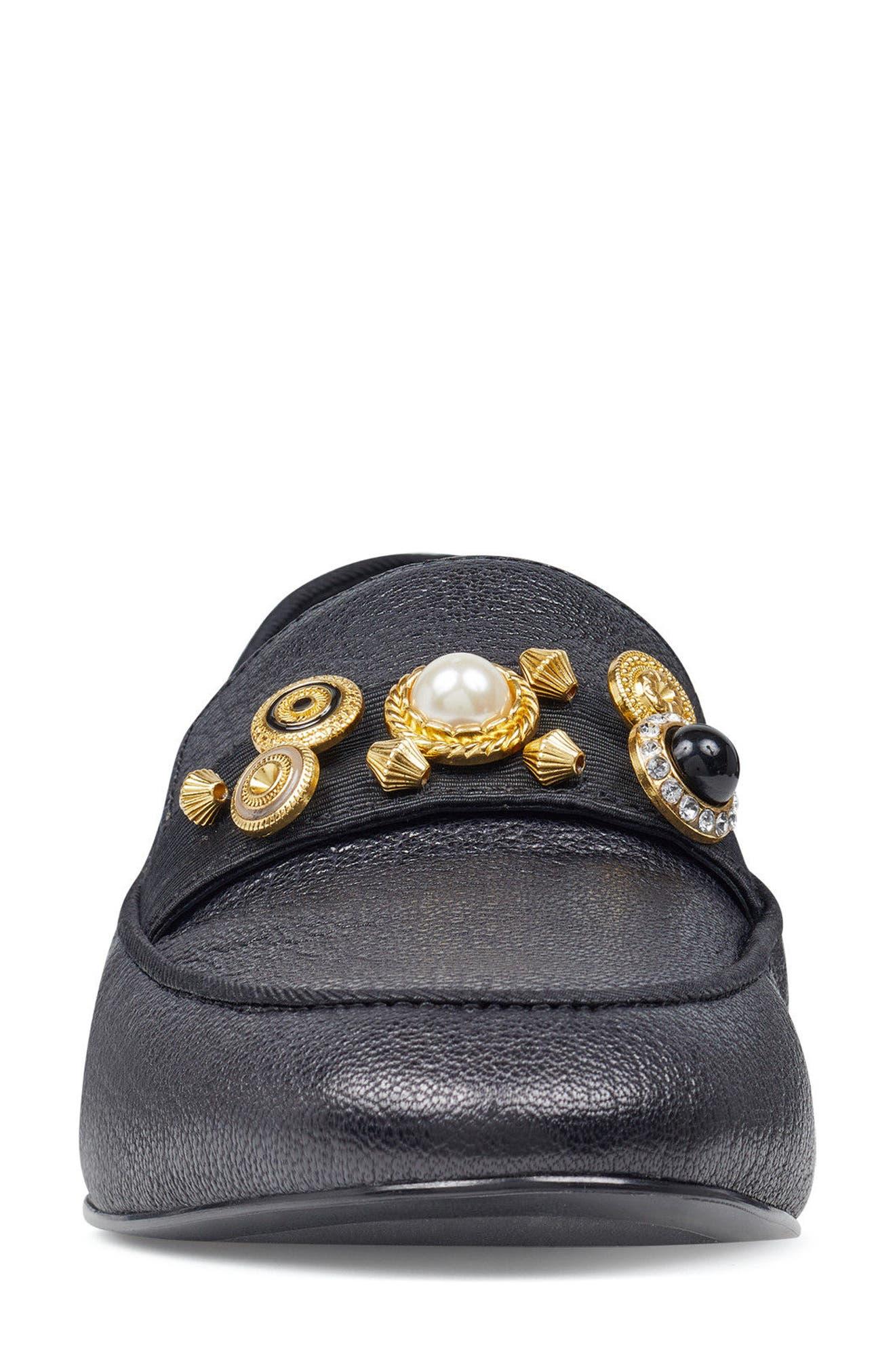 Baus Loafer Flat,                             Alternate thumbnail 4, color,                             Black/ Black Leather