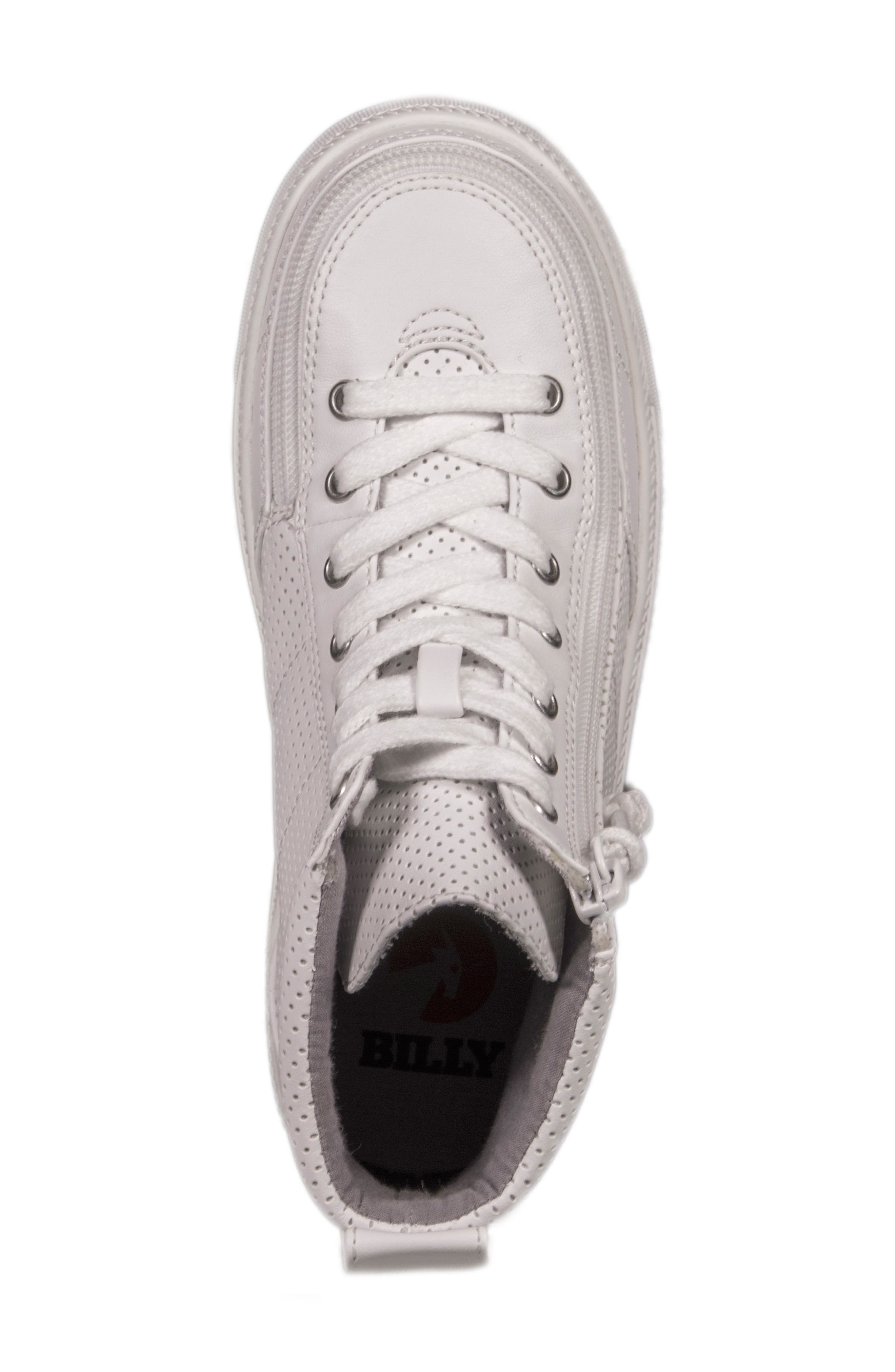 Zip Around Perforated High Top Sneaker,                             Alternate thumbnail 5, color,                             White Perforated