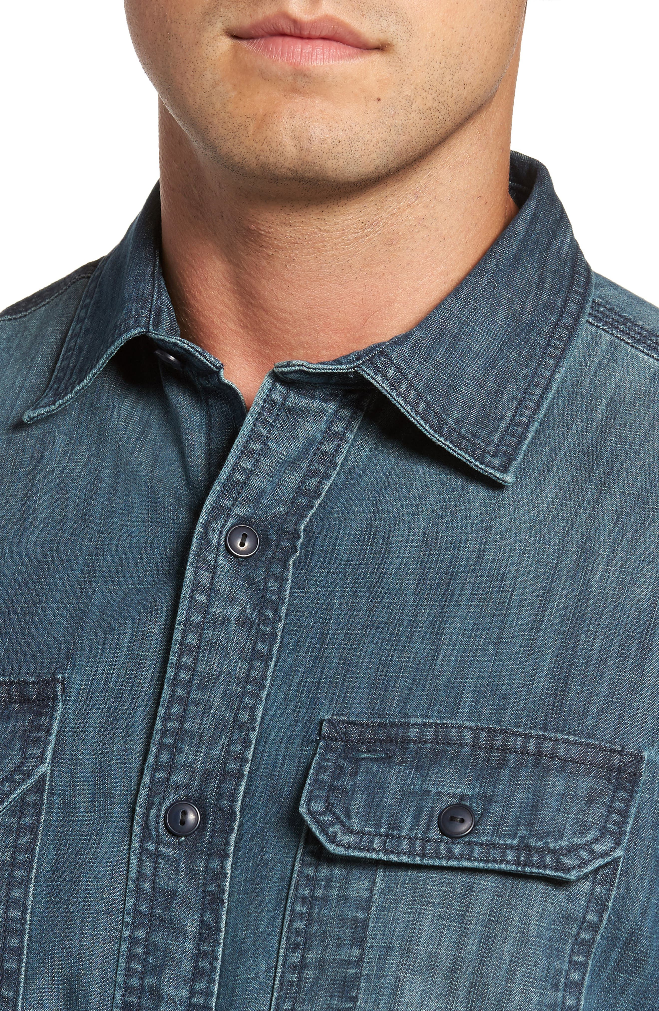 Alternate Image 4  - FLYNT Regular Fit Denim Shirt