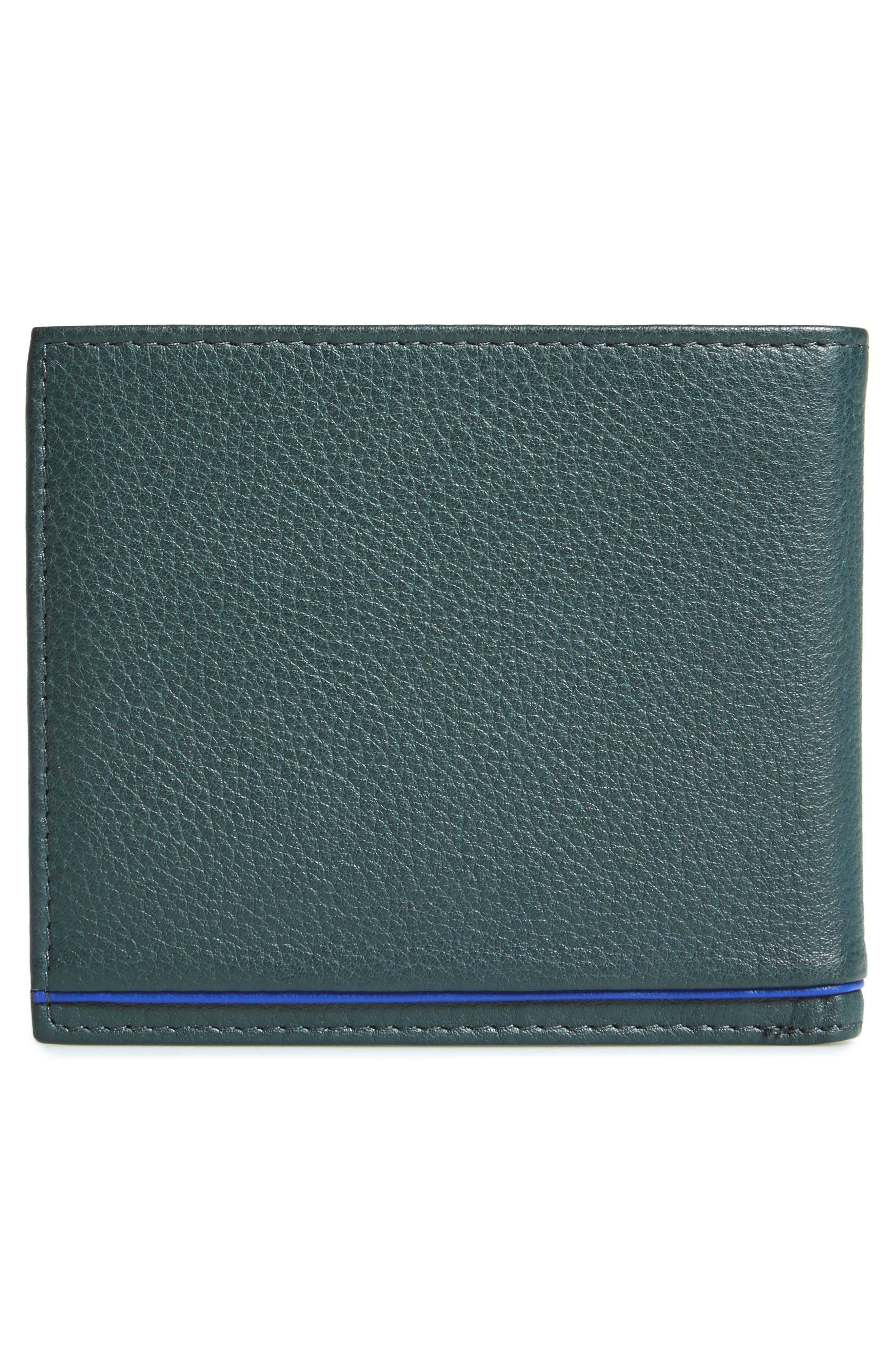 Persia Leather Wallet,                             Alternate thumbnail 3, color,                             Dark Green