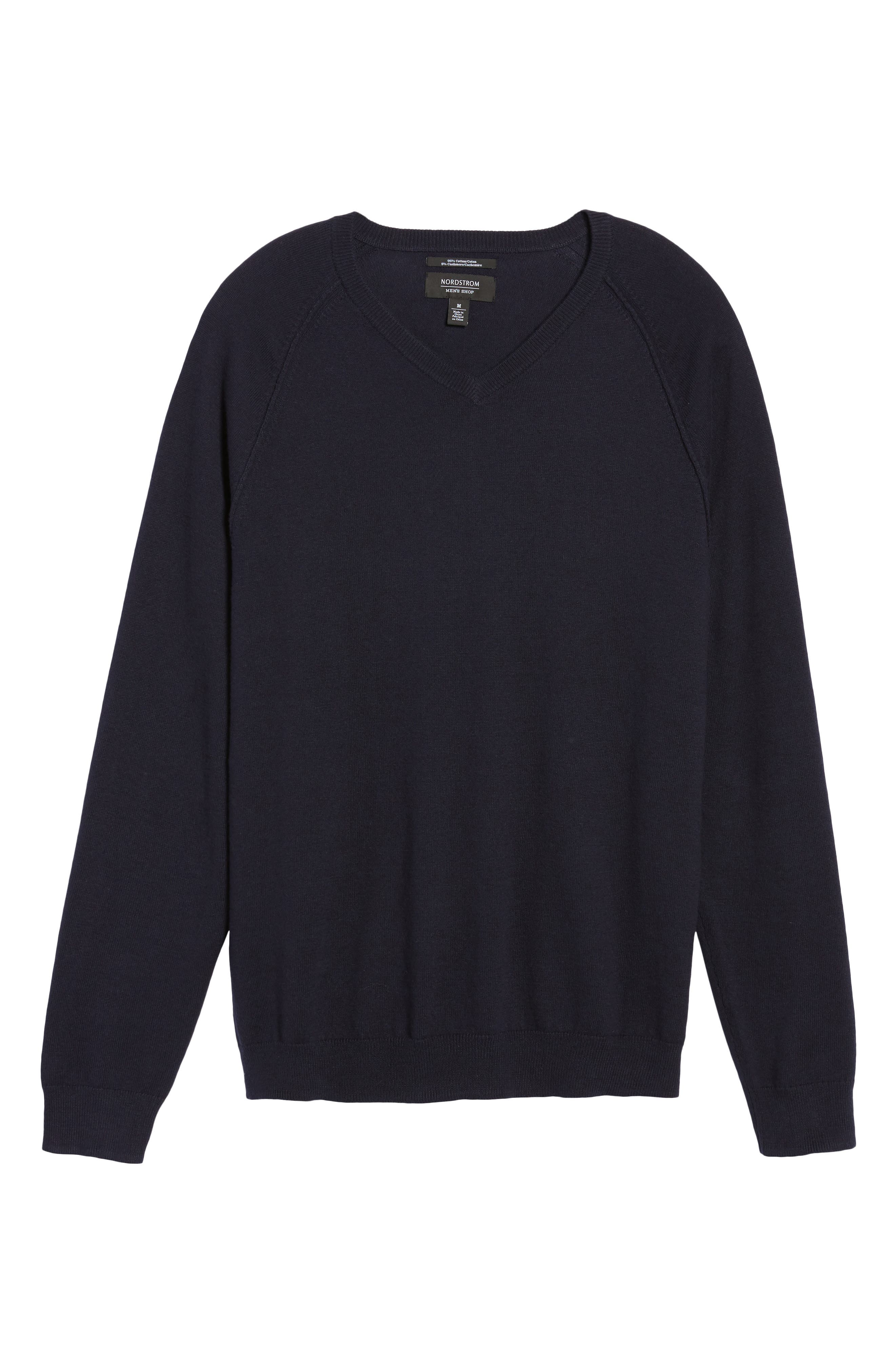 Saddle Shoulder Cotton & Cashmere V-Neck Sweater,                             Alternate thumbnail 6, color,                             Navy Night