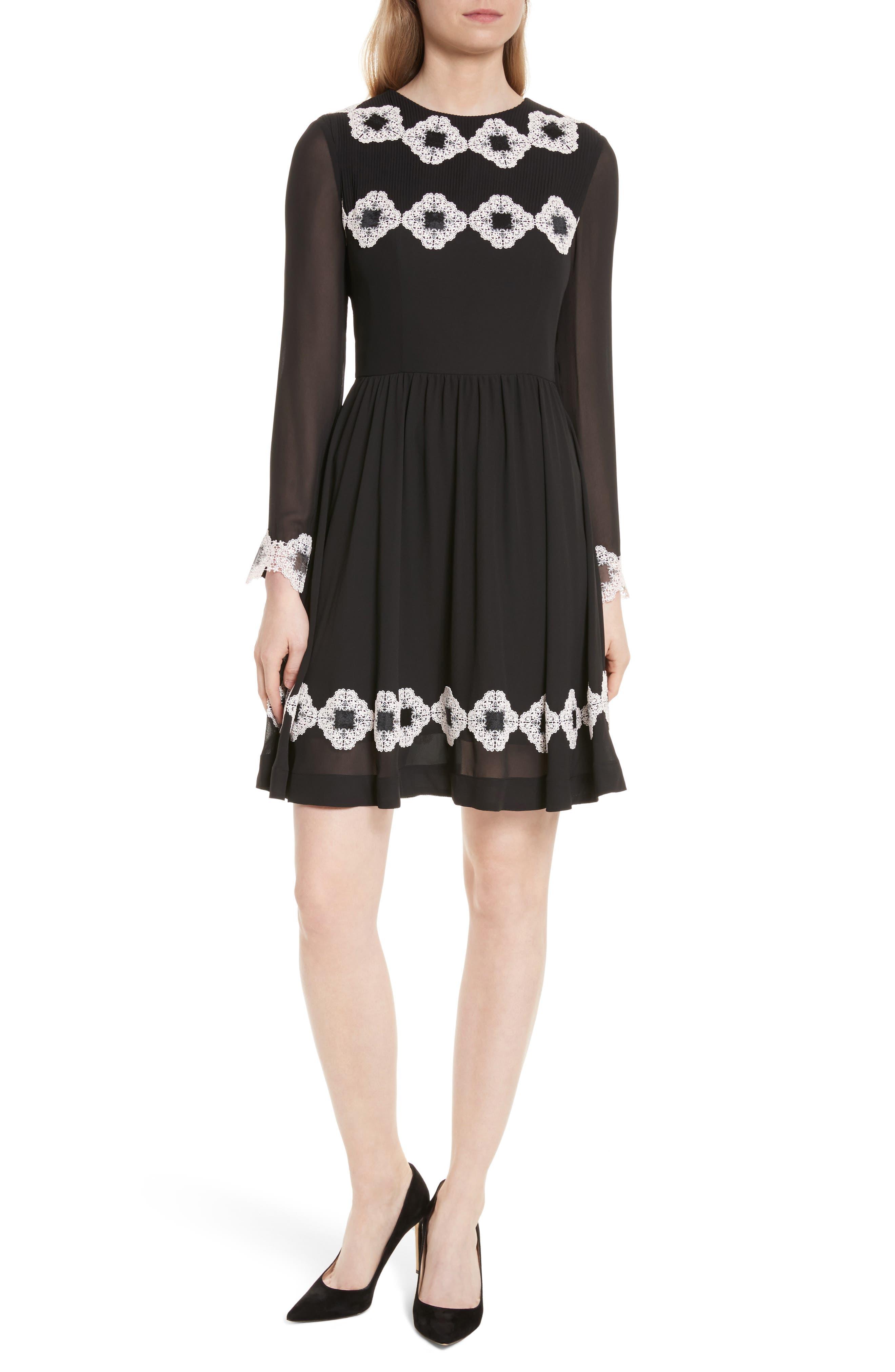 Avianah Lace Trim Fit & Flare Dress,                             Main thumbnail 1, color,                             Black