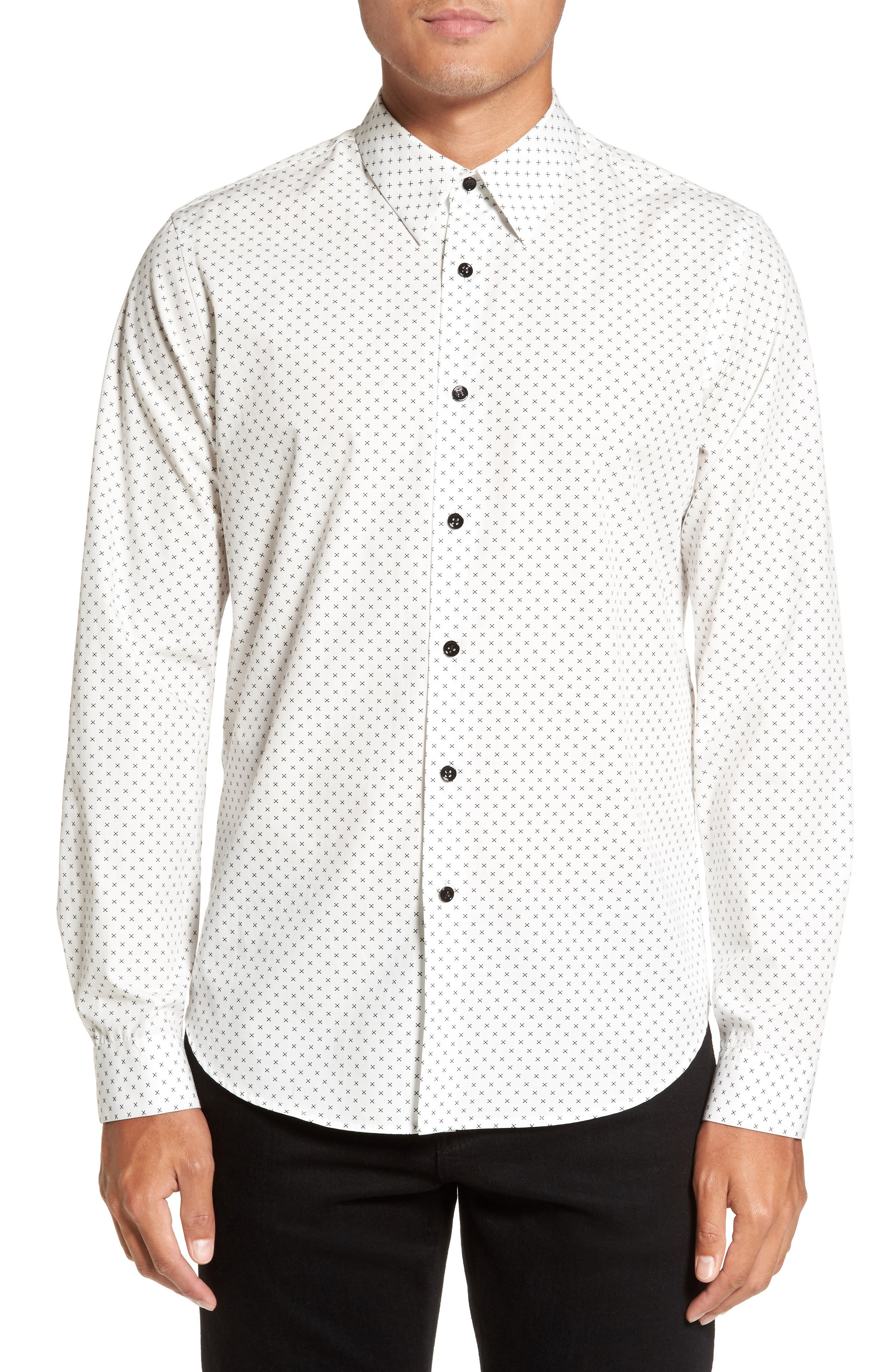 Stitch Print Sport Shirt,                             Main thumbnail 1, color,                             Ivory Multi