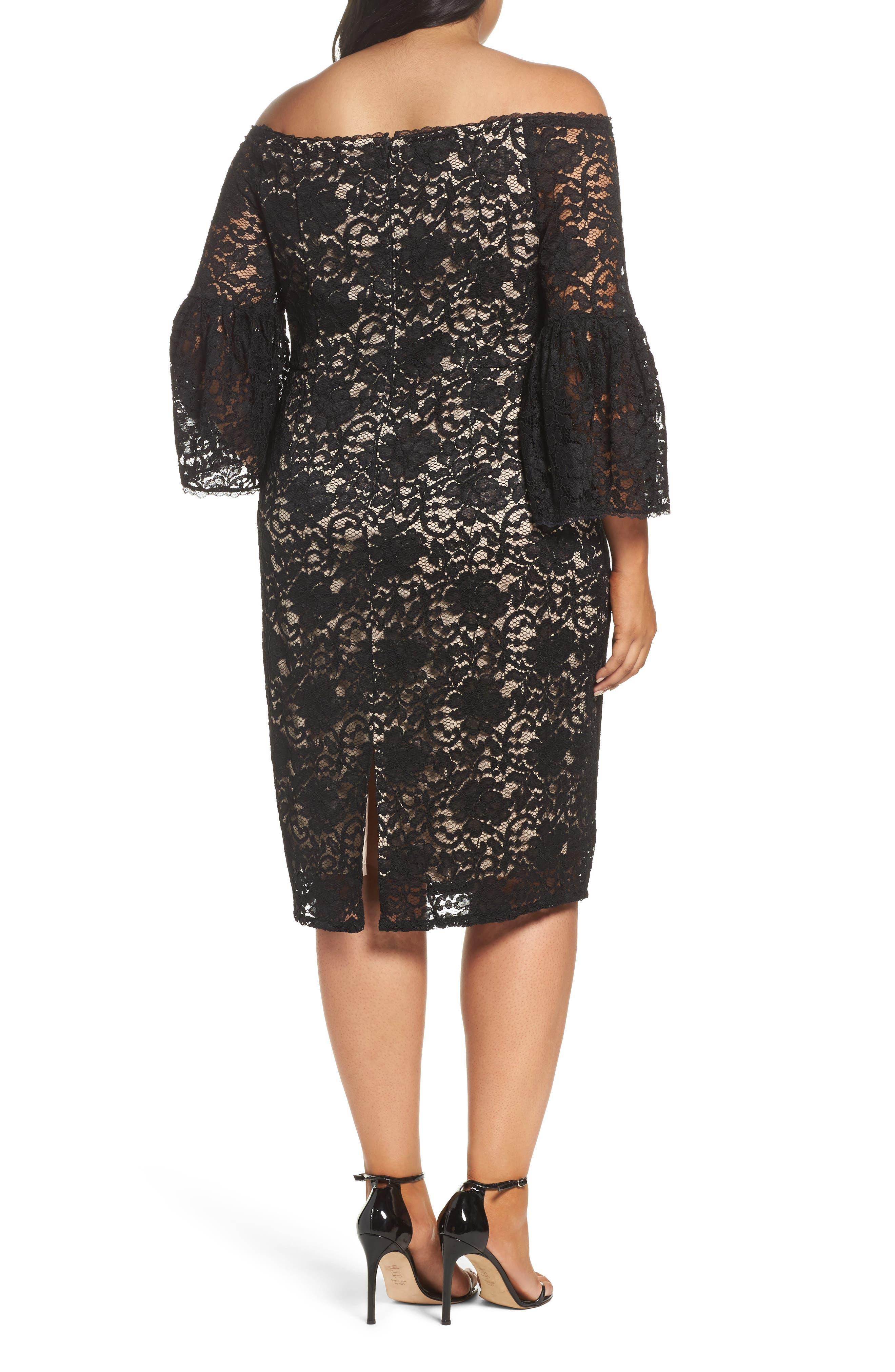 Alternate Image 3  - Adrianna Papell Juliet Off the Shoulder Lace Dress (Plus Size)