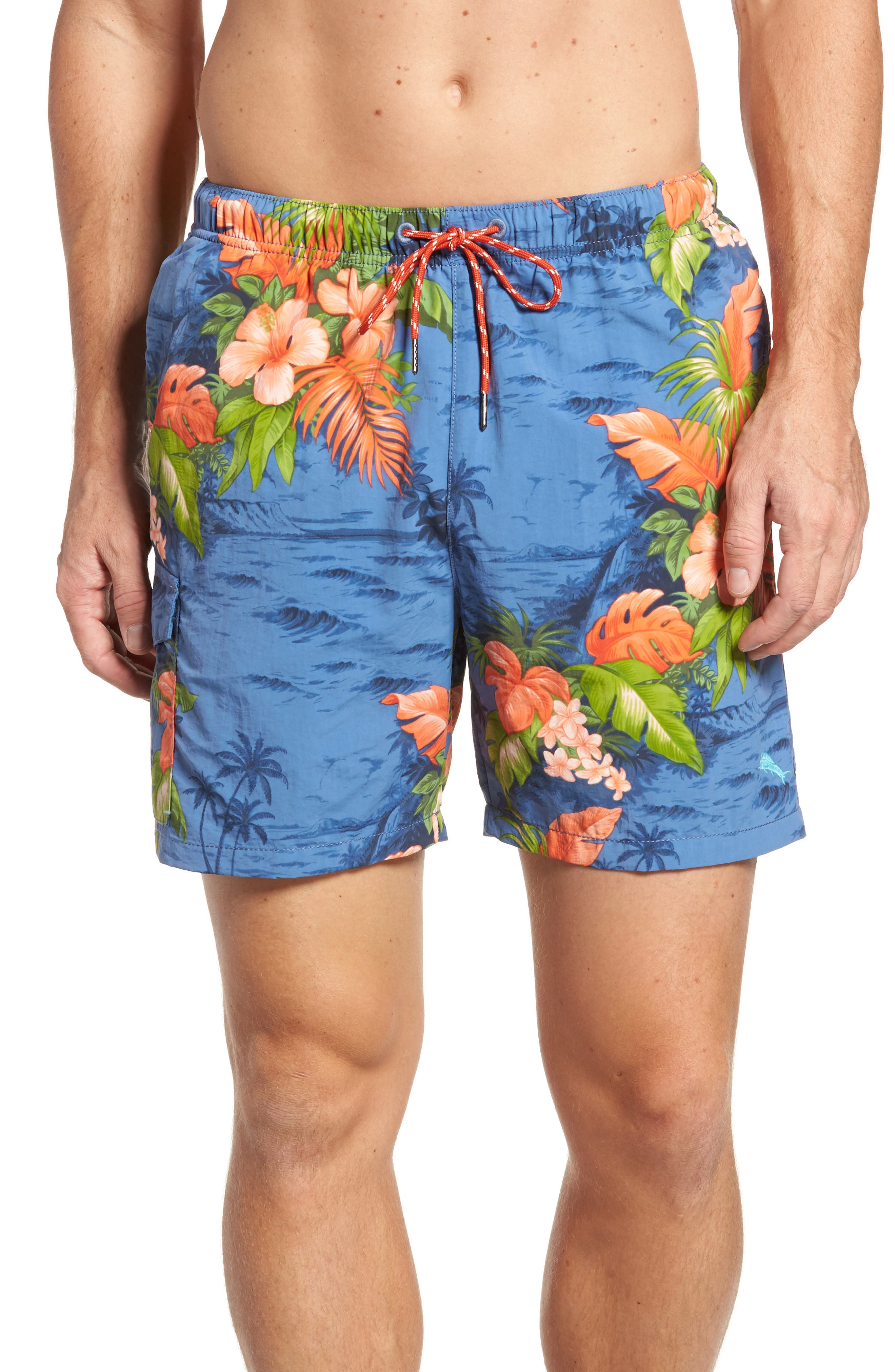 Naples Fiji Ferns Swim Trunks,                             Main thumbnail 1, color,                             Dockside Blue