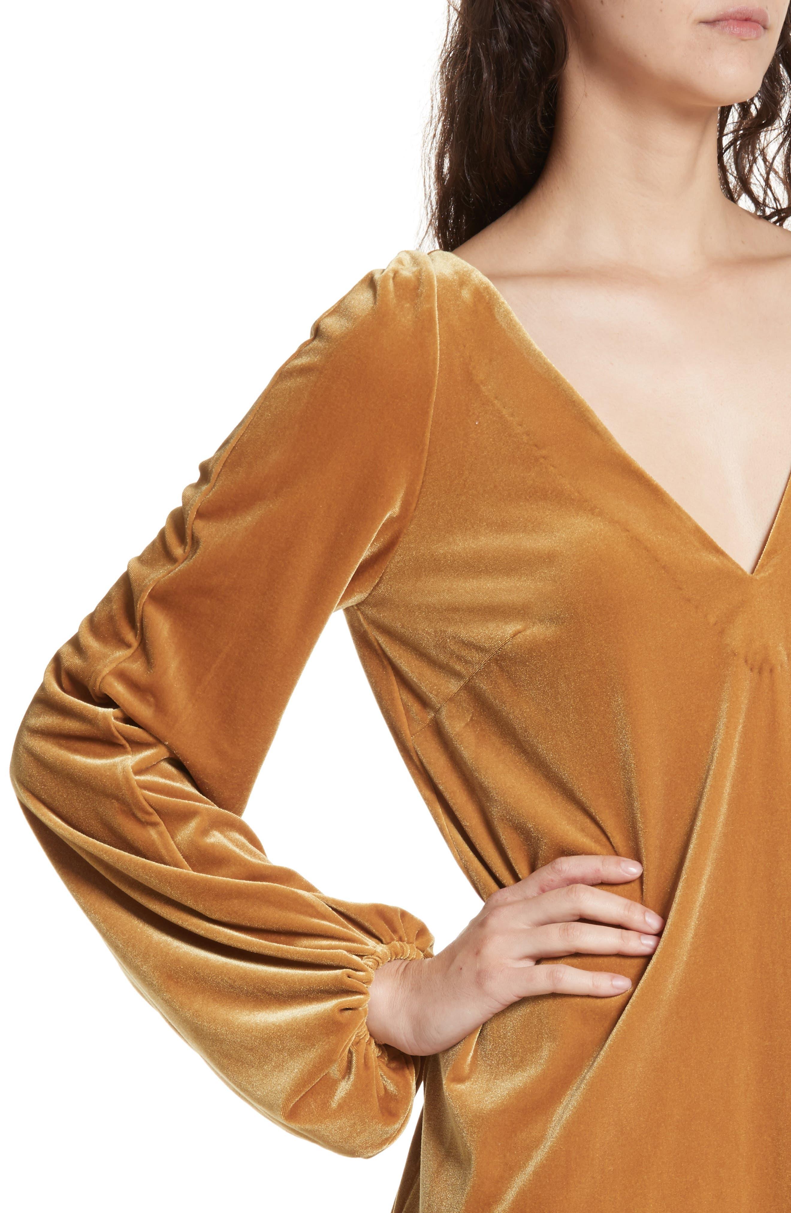 Misha Velvet Minidress,                             Alternate thumbnail 4, color,                             Gold