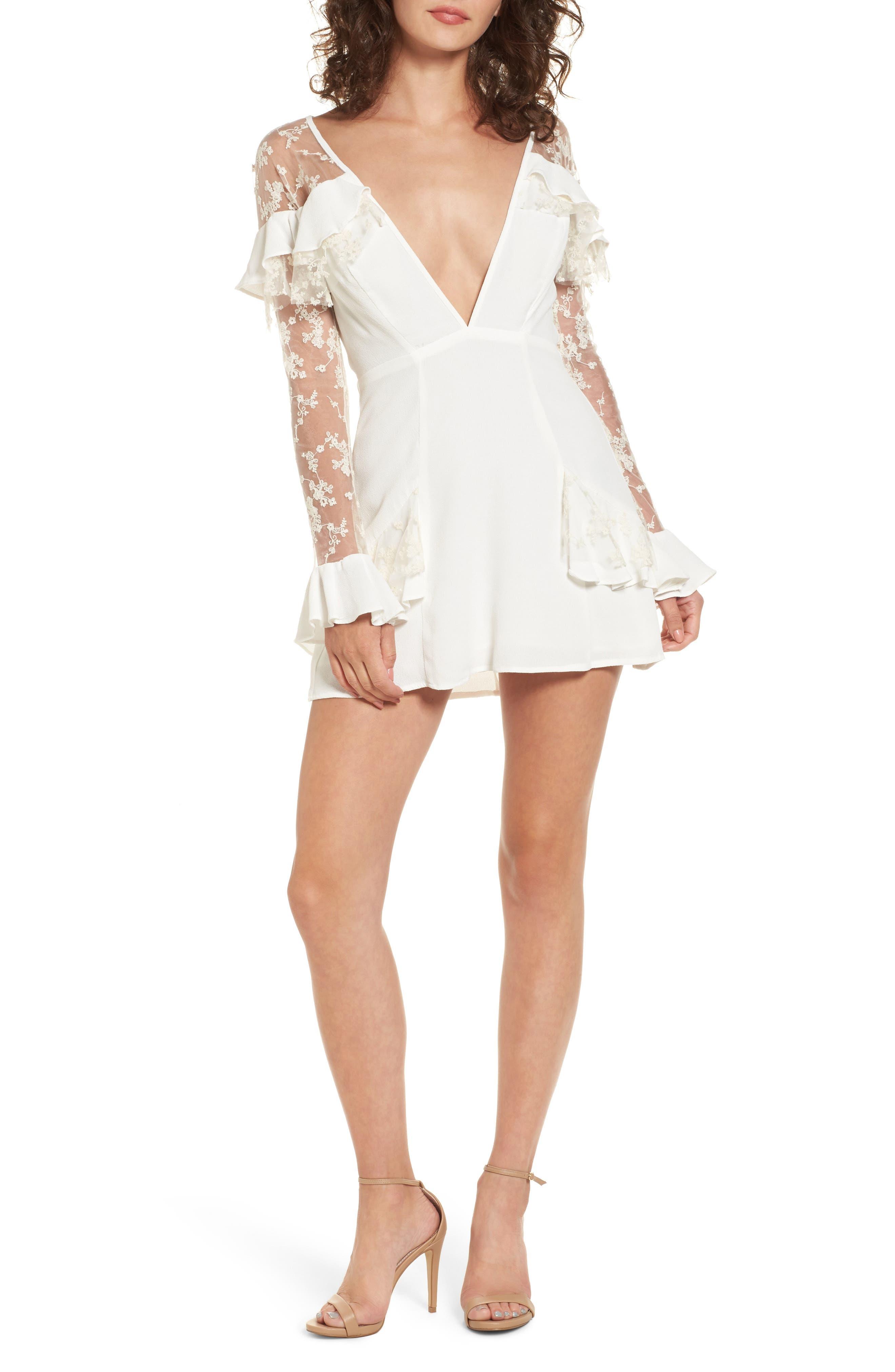Rosebud Minidress,                         Main,                         color, Ivory