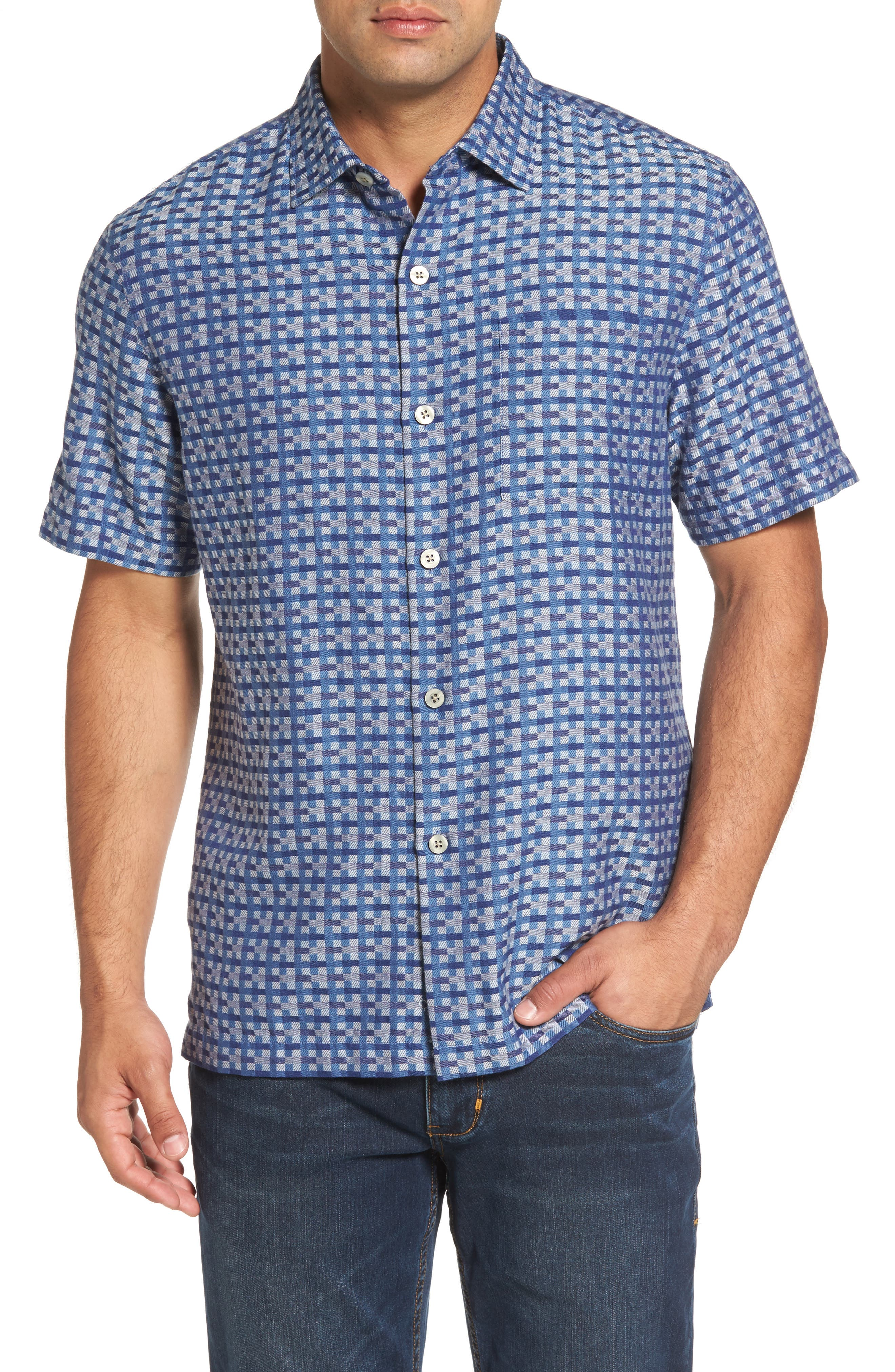 Main Image - Tommy Bahama Moroccan Squares Standard Fit Silk Blend Camp Shirt