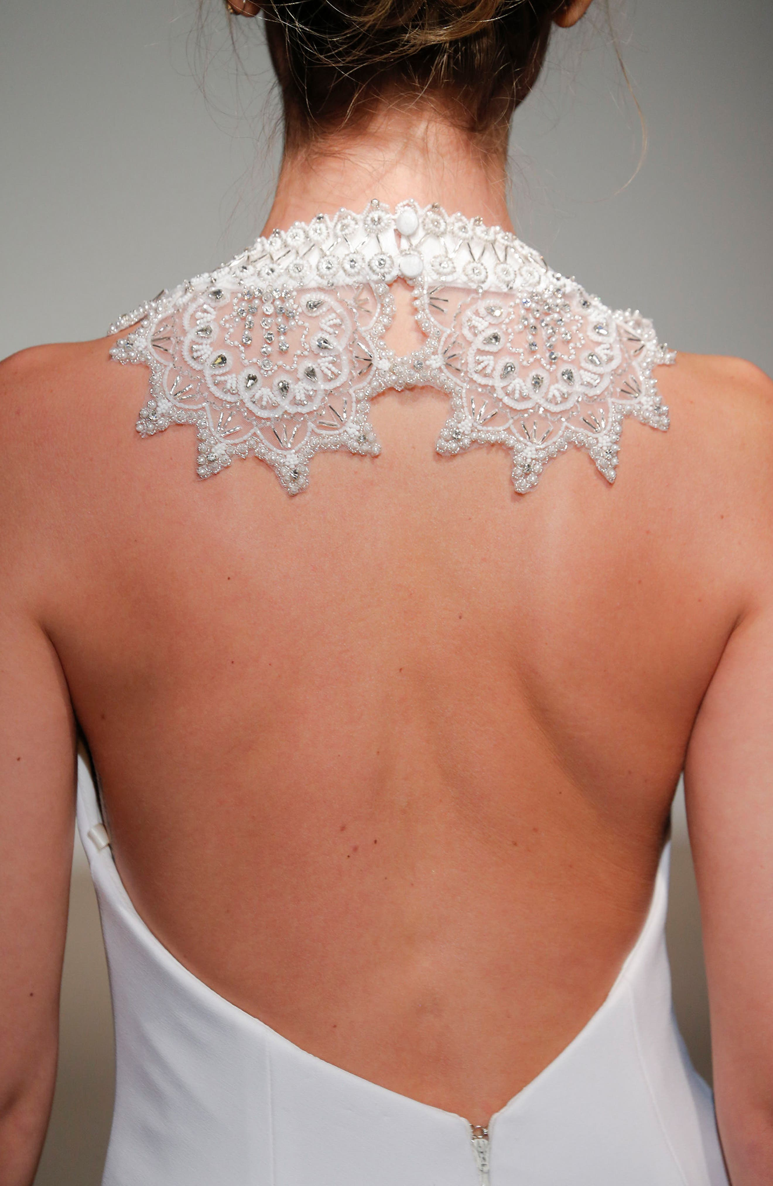 Senet Embellished Open Back Cady Gown,                             Alternate thumbnail 3, color,                             White