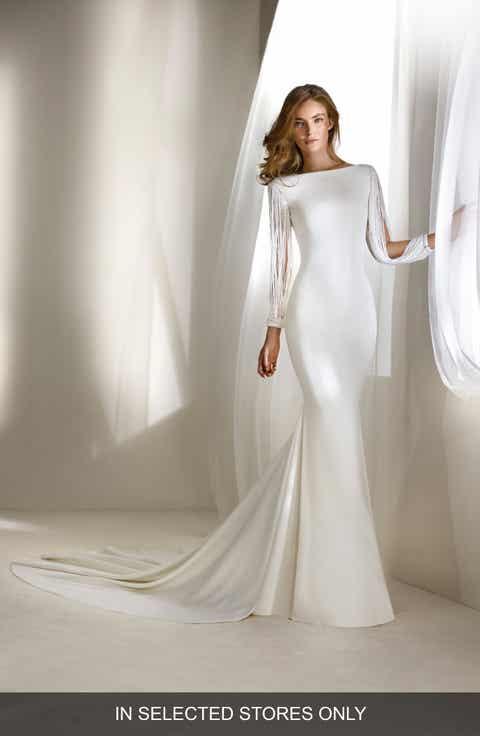 Atelier Pronovias Relato Beaded Long Sleeve Mermaid Gown