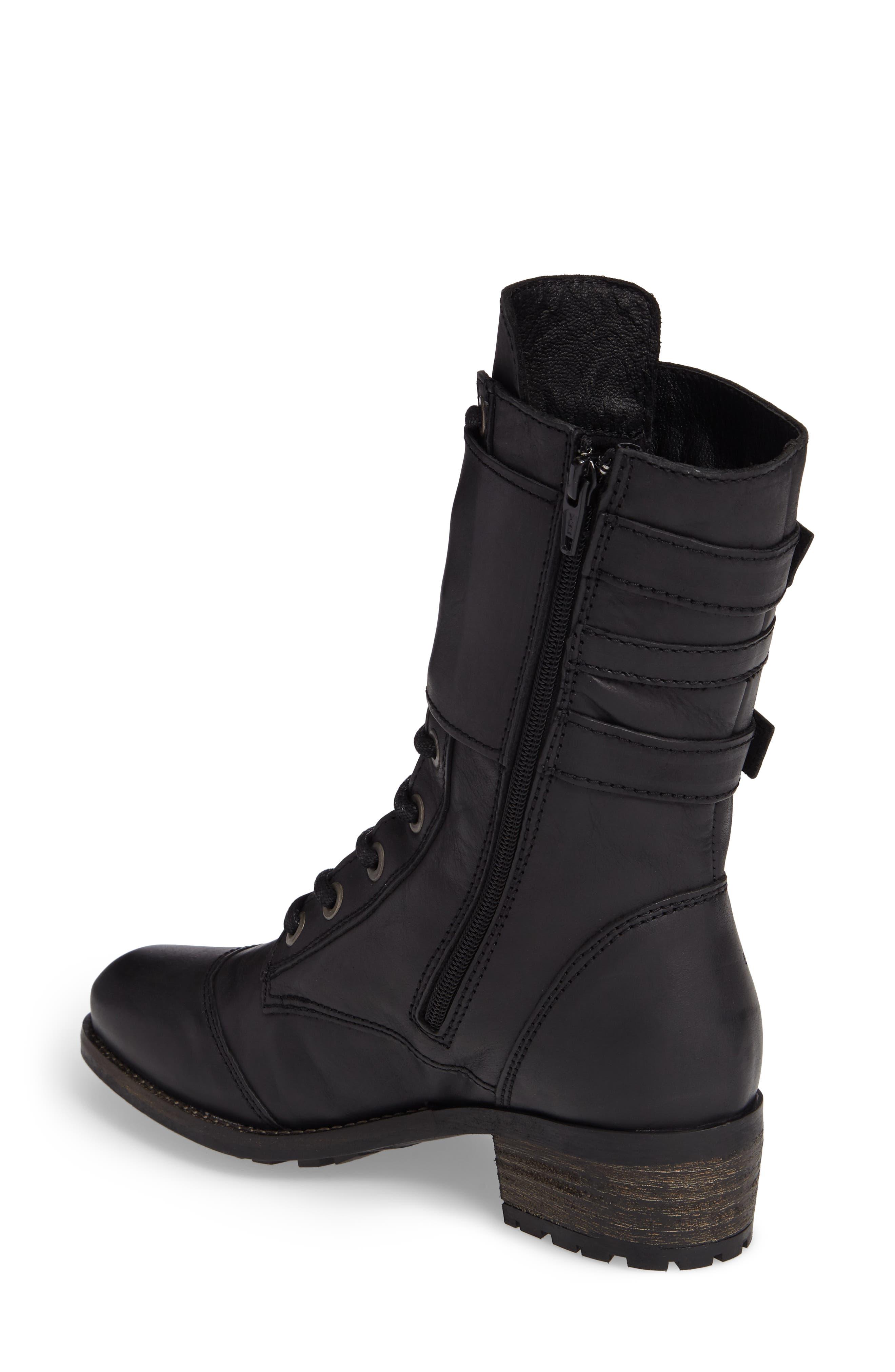 Lune Waterproof Moto Boot,                             Alternate thumbnail 2, color,                             Black Varese Leather