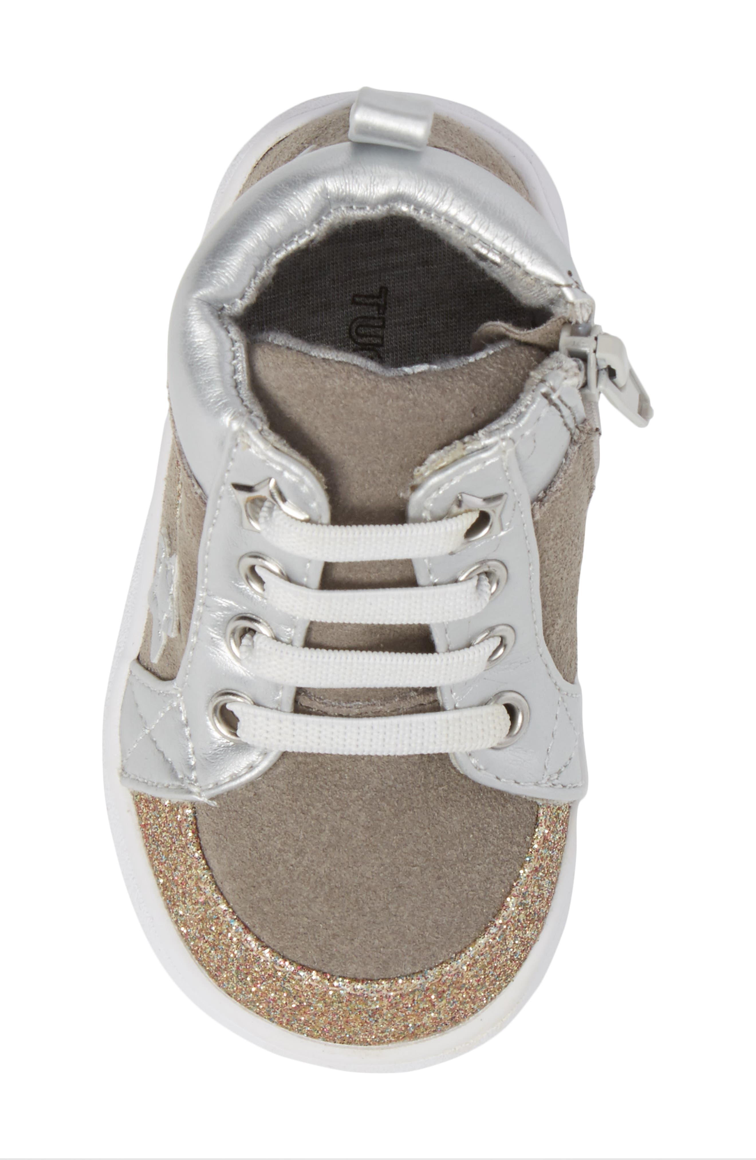 Diantha Star Appliqué High Top Sneaker,                             Alternate thumbnail 5, color,                             Grey Leather
