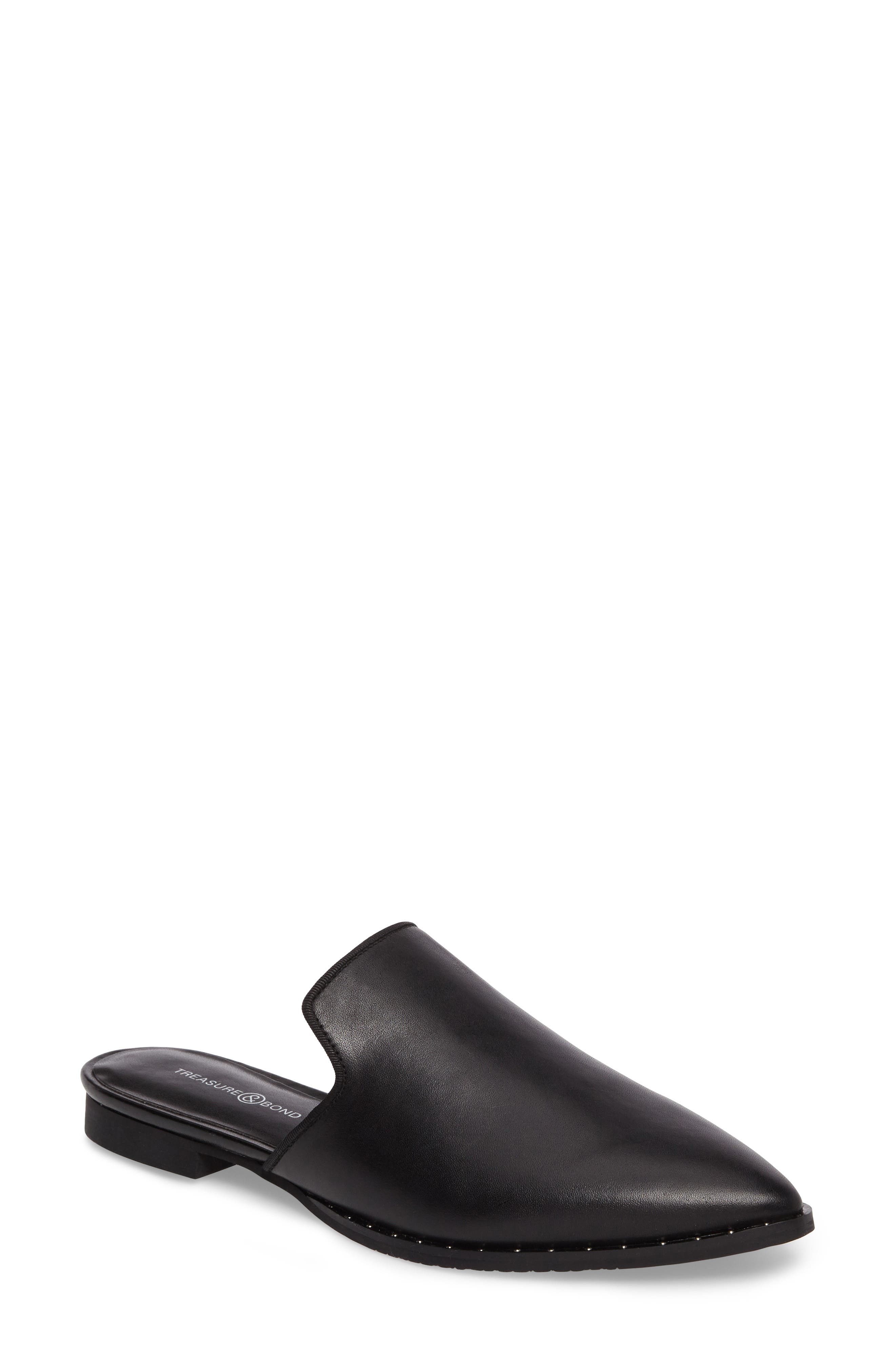 Keaton Loafer Mule,                         Main,                         color, Black Leather