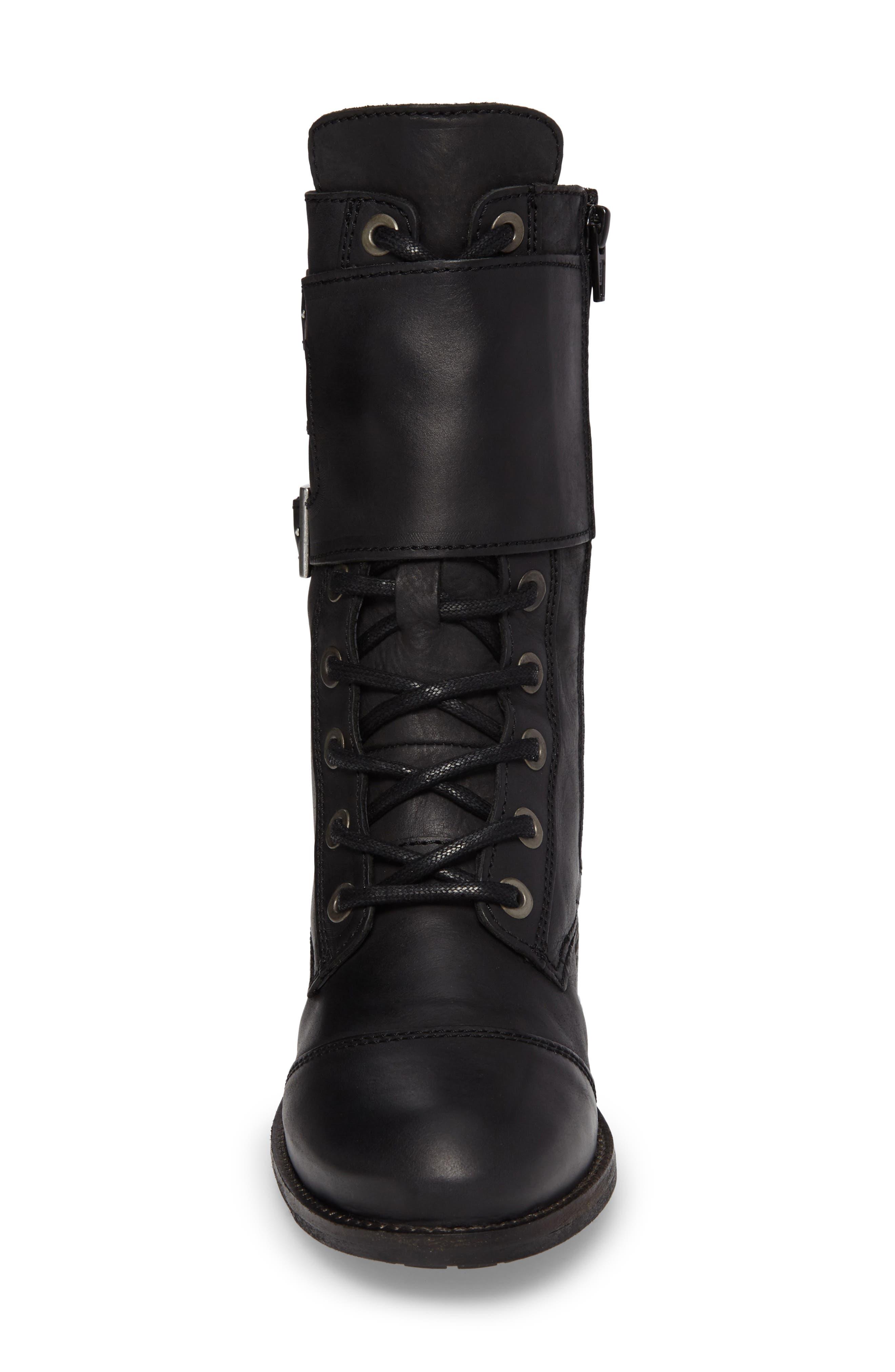 Lune Waterproof Moto Boot,                             Alternate thumbnail 4, color,                             Black Varese Leather