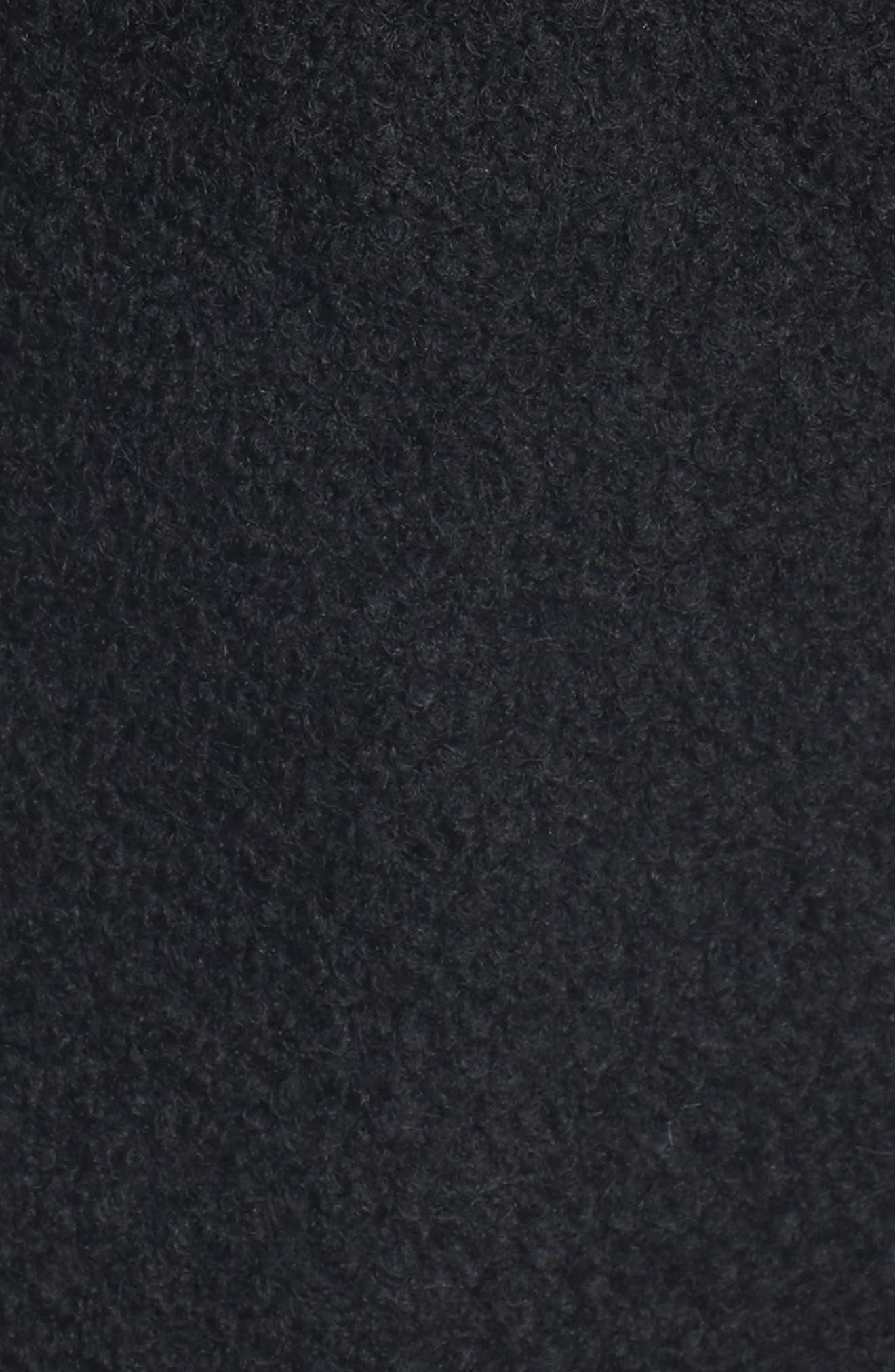 Hooded Wool Blend Bouclé Jacket with Faux Fur Trim,                             Alternate thumbnail 5, color,                             Black