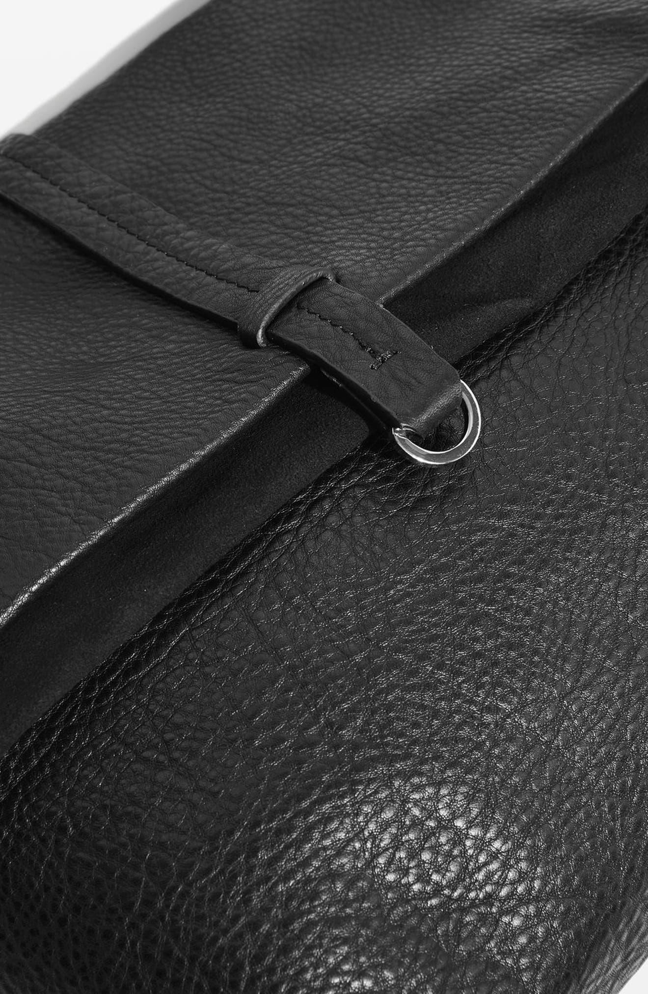 Premium Leather Studded Calfskin Hobo Bag,                             Alternate thumbnail 5, color,                             Black