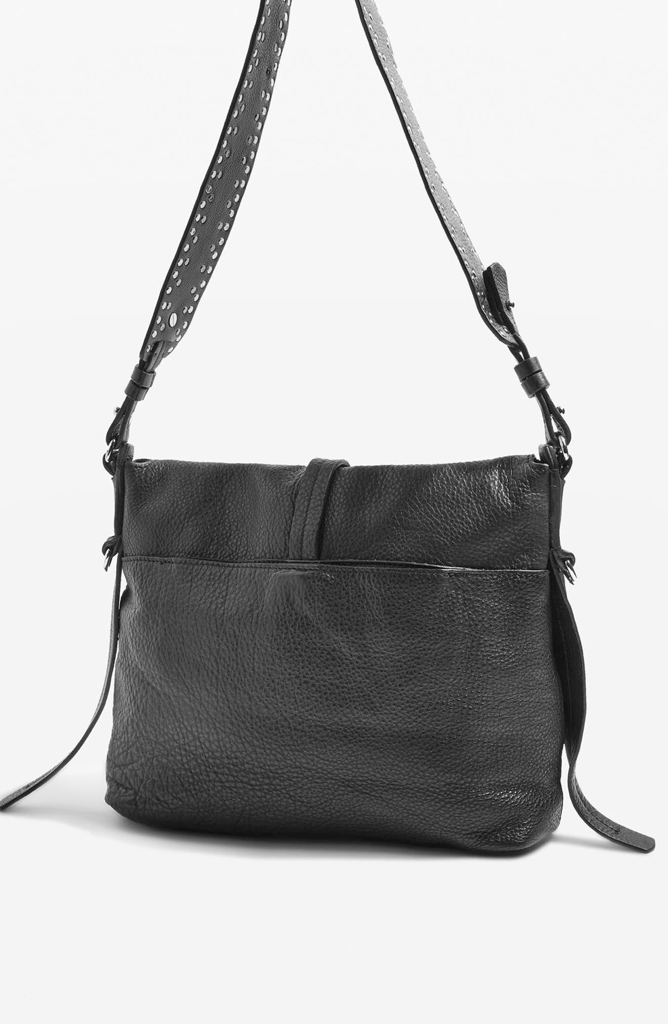 Premium Leather Studded Calfskin Hobo Bag,                             Alternate thumbnail 3, color,                             Black
