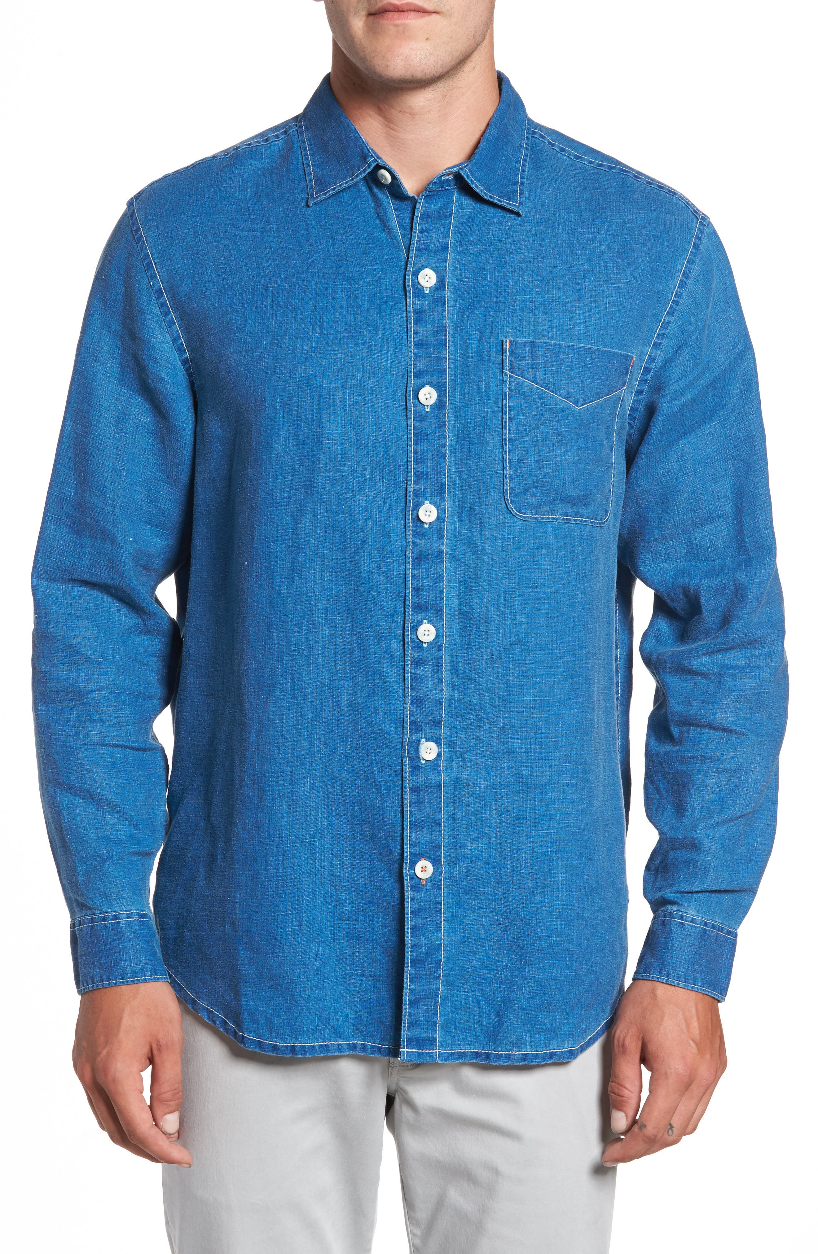 Main Image - Tommy Bahama Sea Glass Breezer Linen Sport Shirt