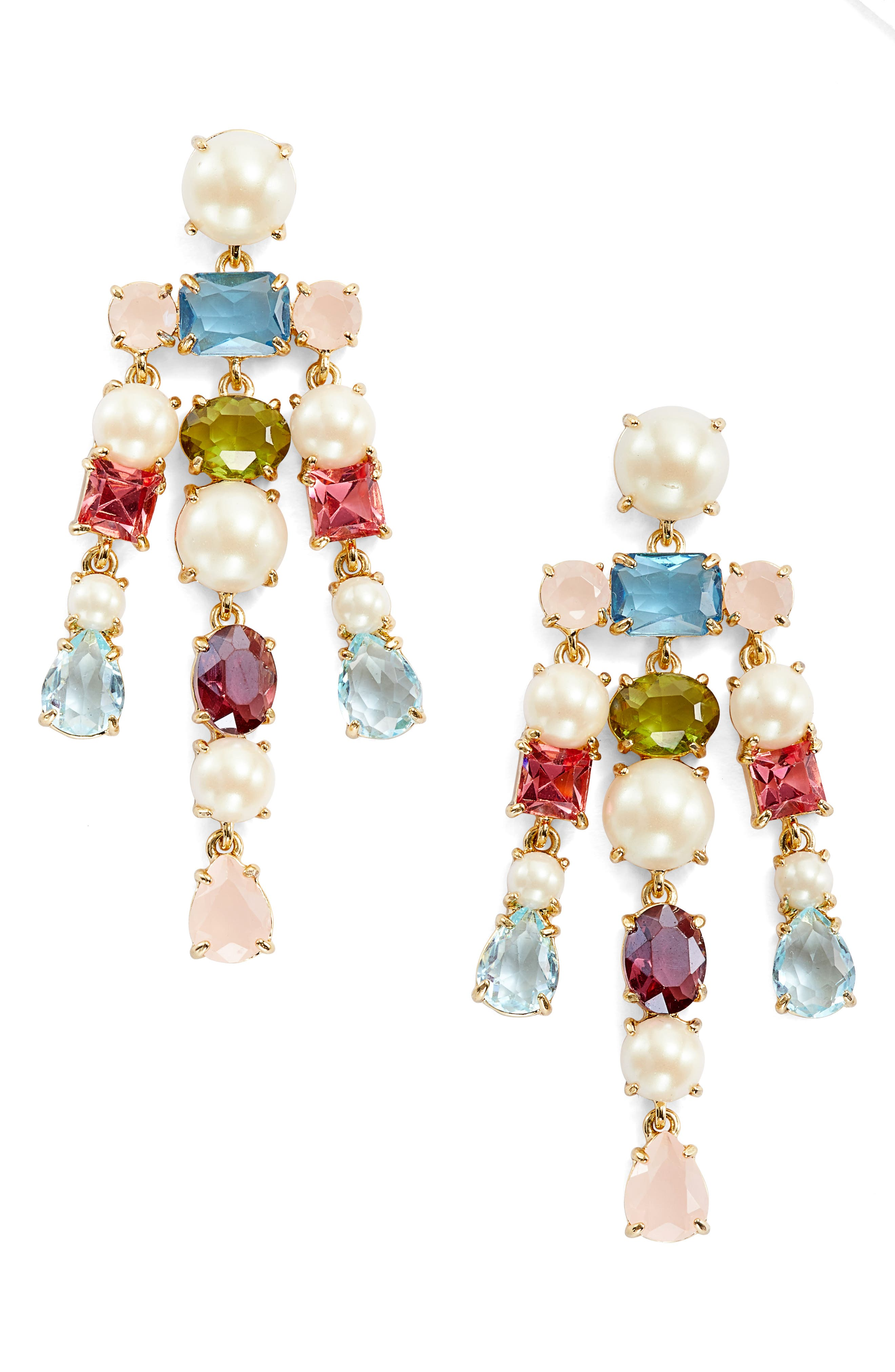 a new hue crystal drop earrings,                         Main,                         color, Gold Multi