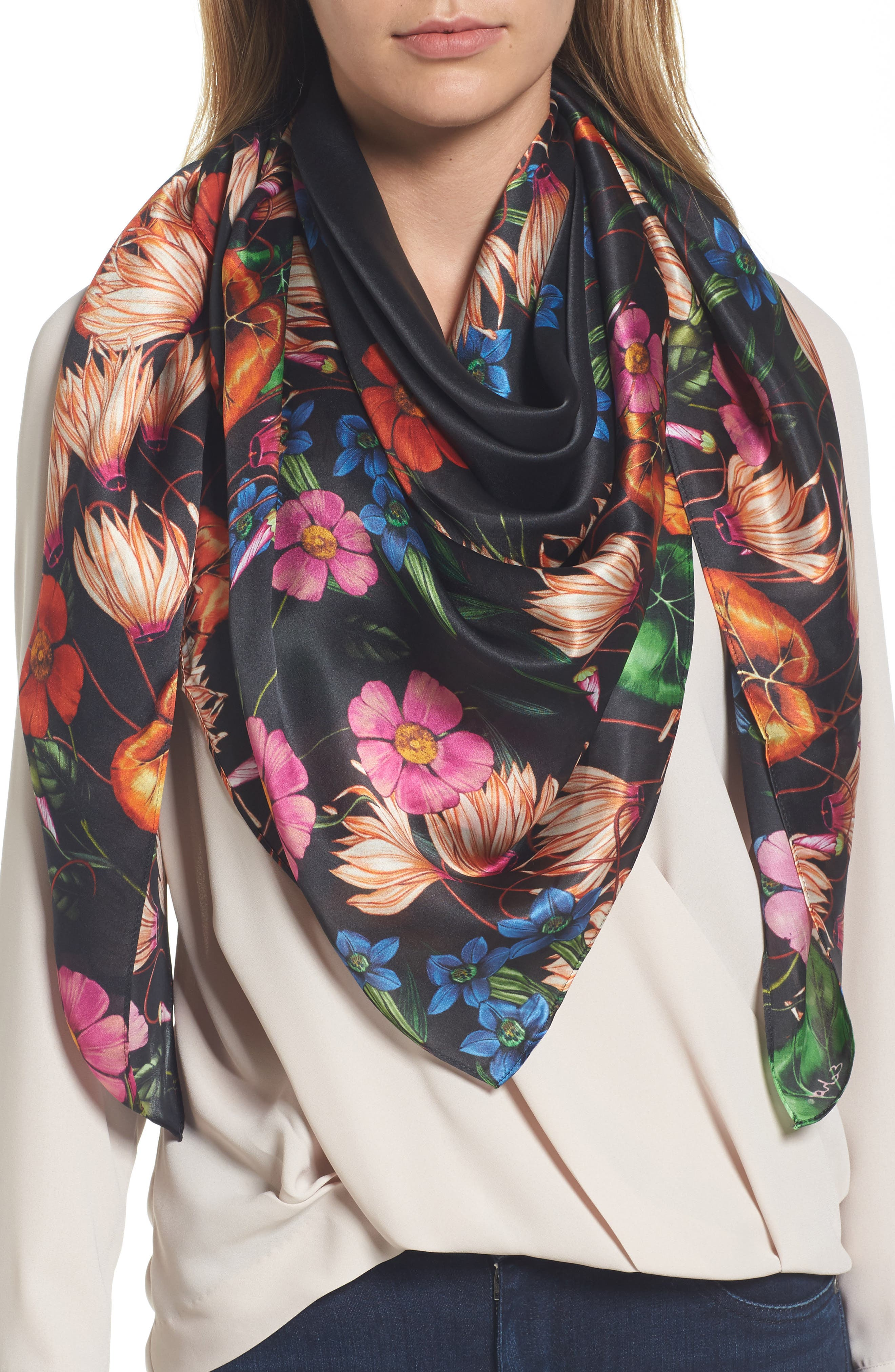 ECHO Garden Party Square Silk Scarf