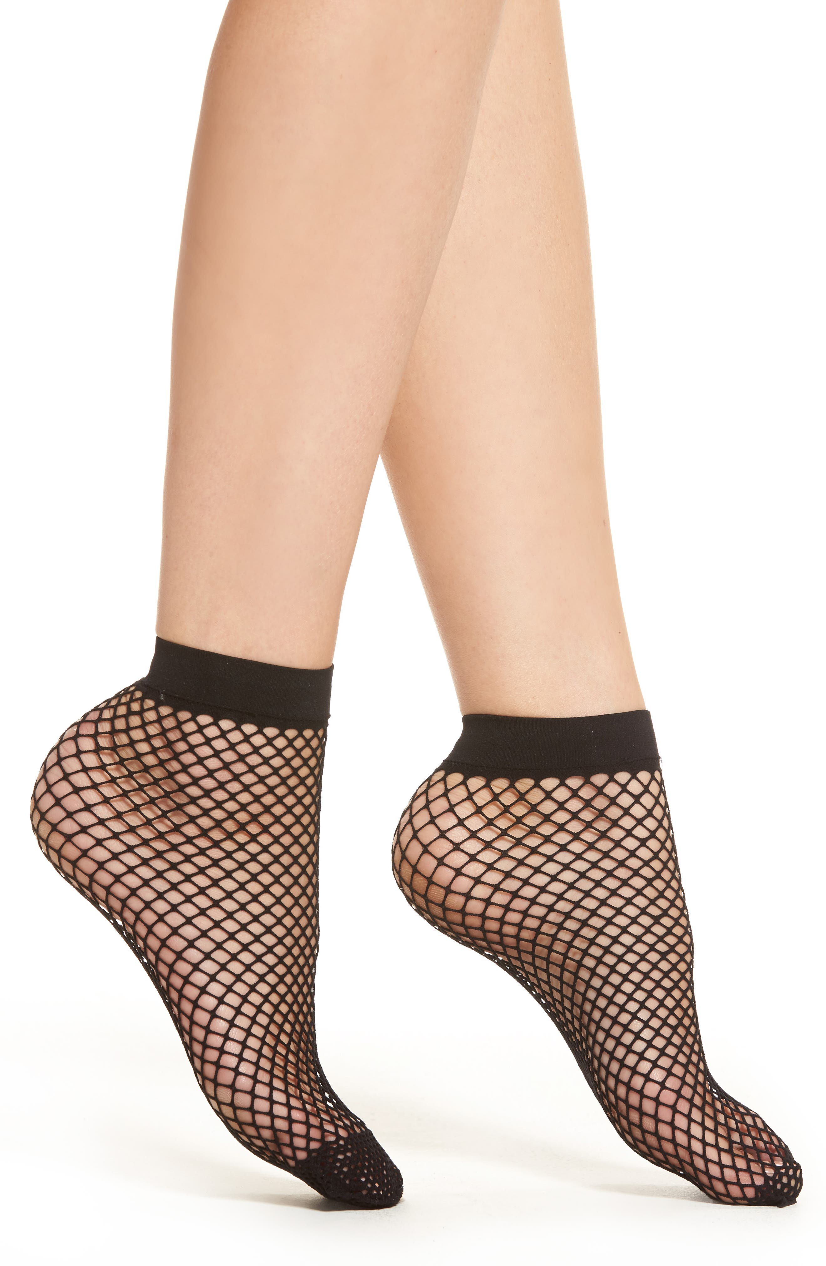 Alternate Image 1 Selected - Capelli New York Fishnet Ankle Socks