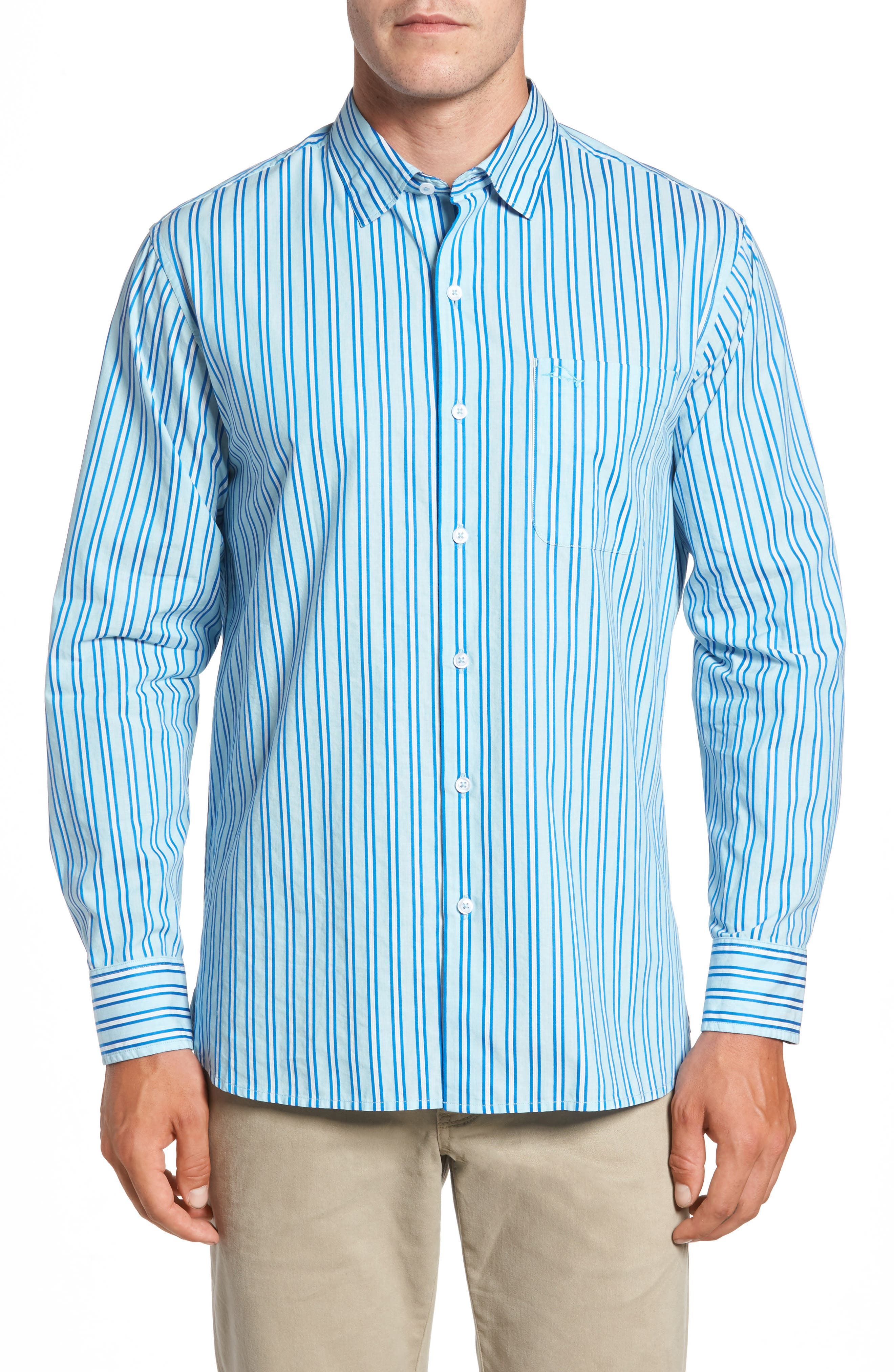 Alternate Image 1 Selected - Tommy Bahama Surf the Line Stripe Sport Shirt