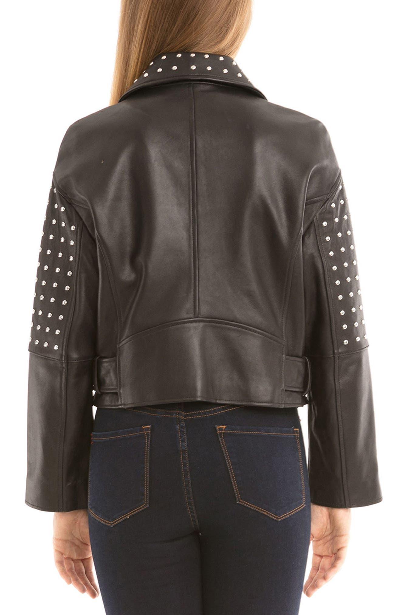 Bagatelle Studded Leather Jacket,                             Alternate thumbnail 2, color,                             Black