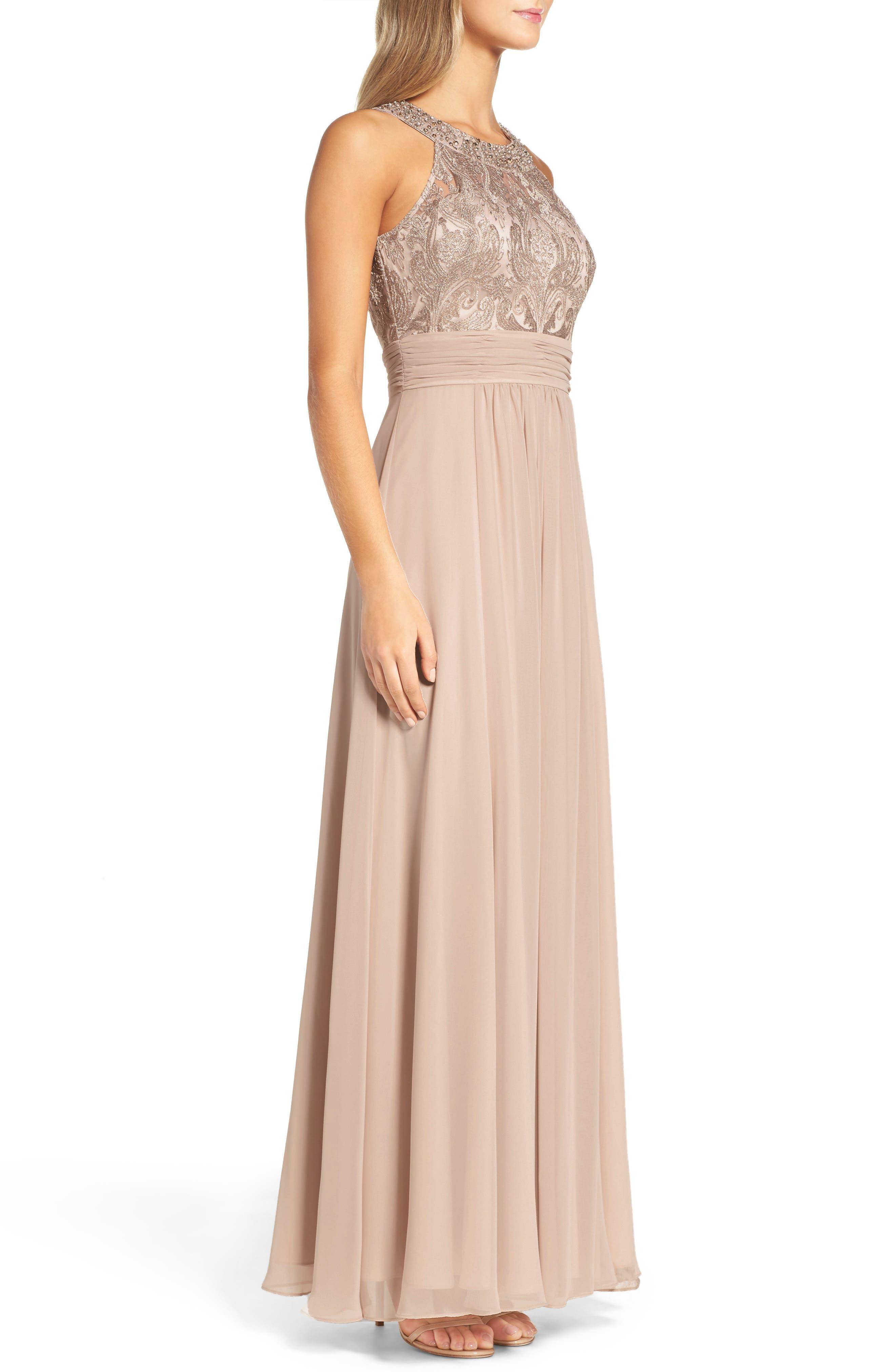 Lace Bodice Gown,                             Alternate thumbnail 4, color,                             Beige