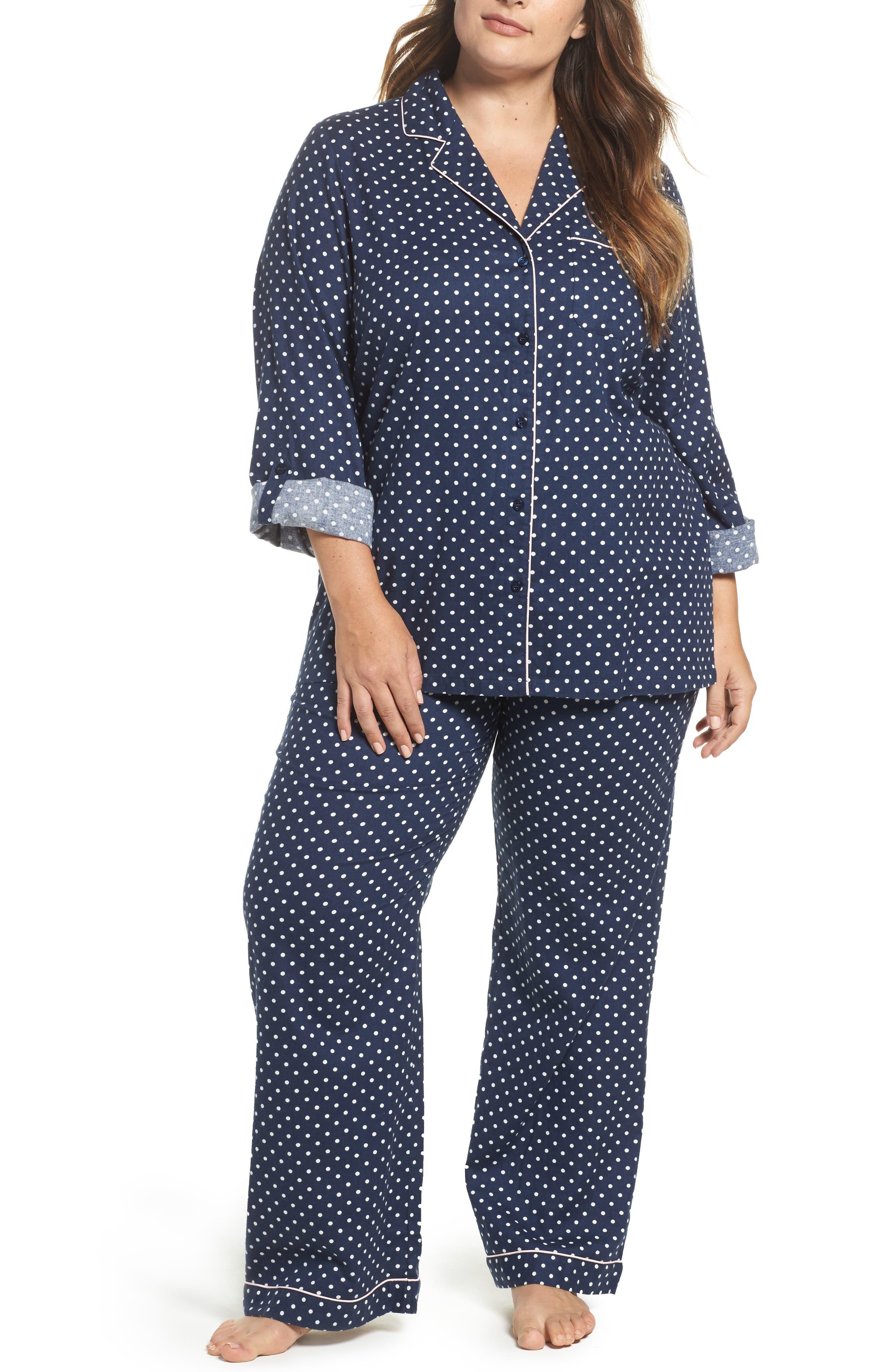 Cotton Twill Pajamas,                             Main thumbnail 1, color,                             Navy Peacoat Flirty Polka