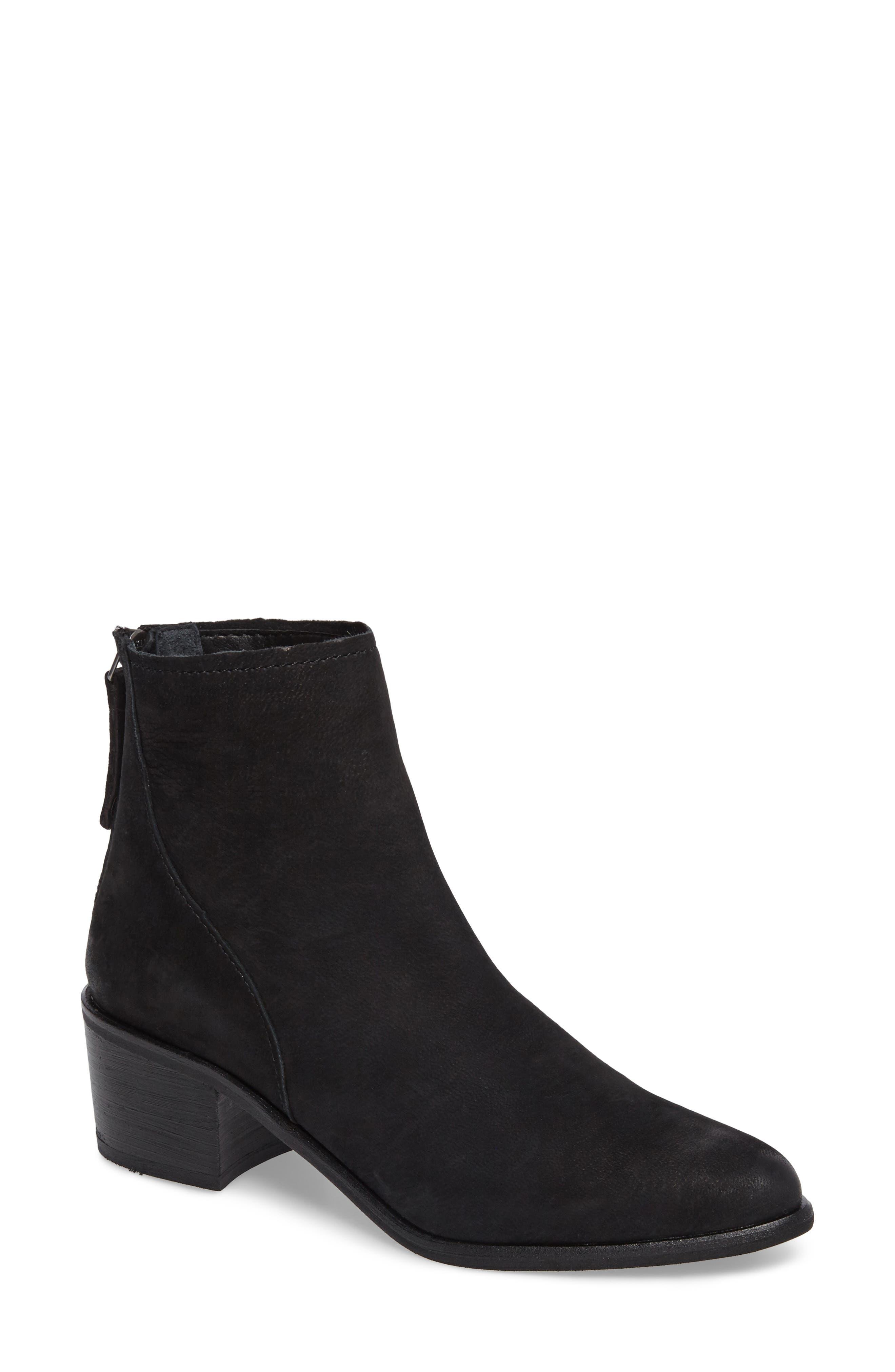 Cassius Block Heel Bootie,                             Main thumbnail 1, color,                             Black Nubuck Leather