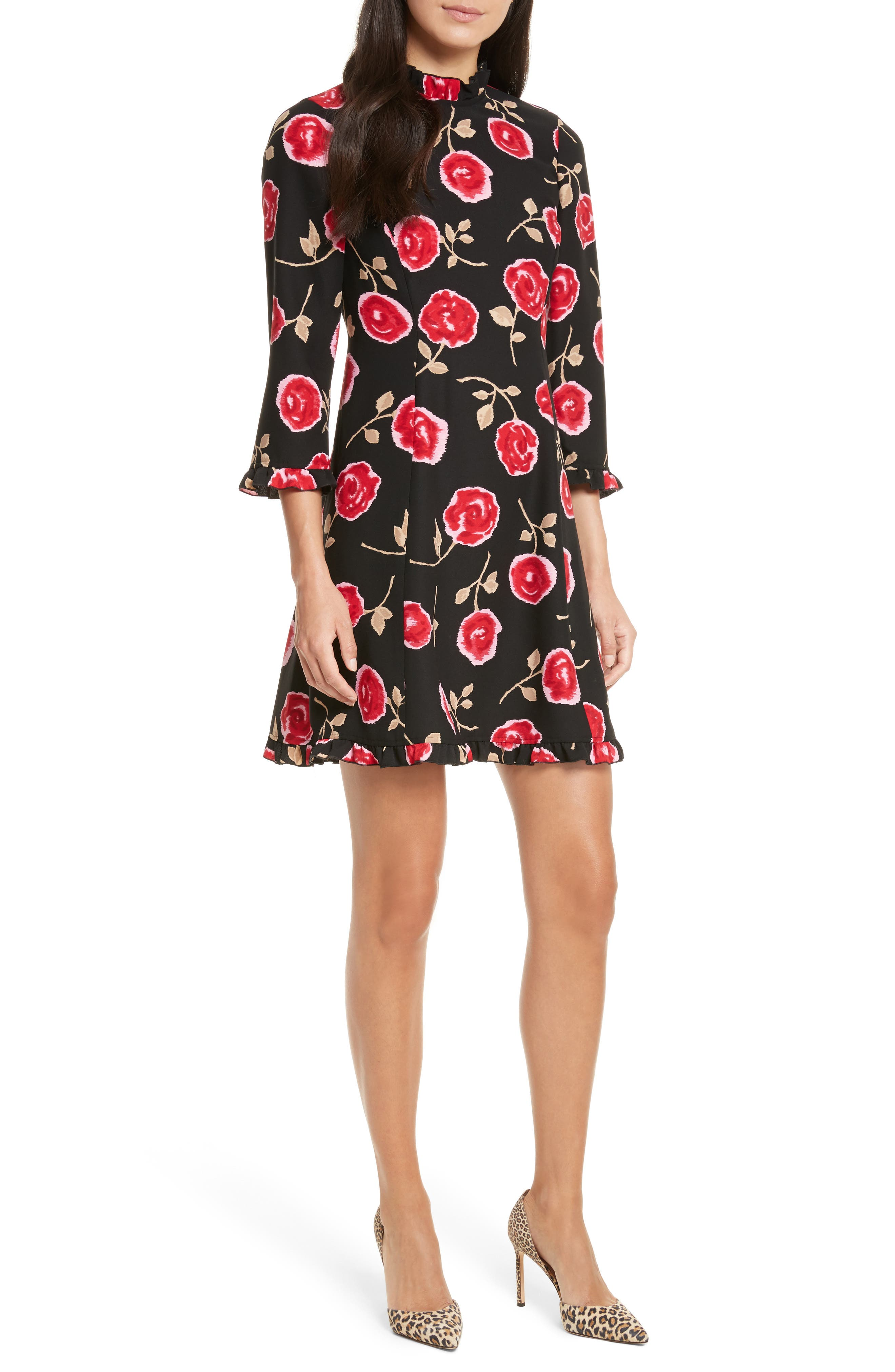 hazy rose crepe a-line dress,                         Main,                         color, Black Multi