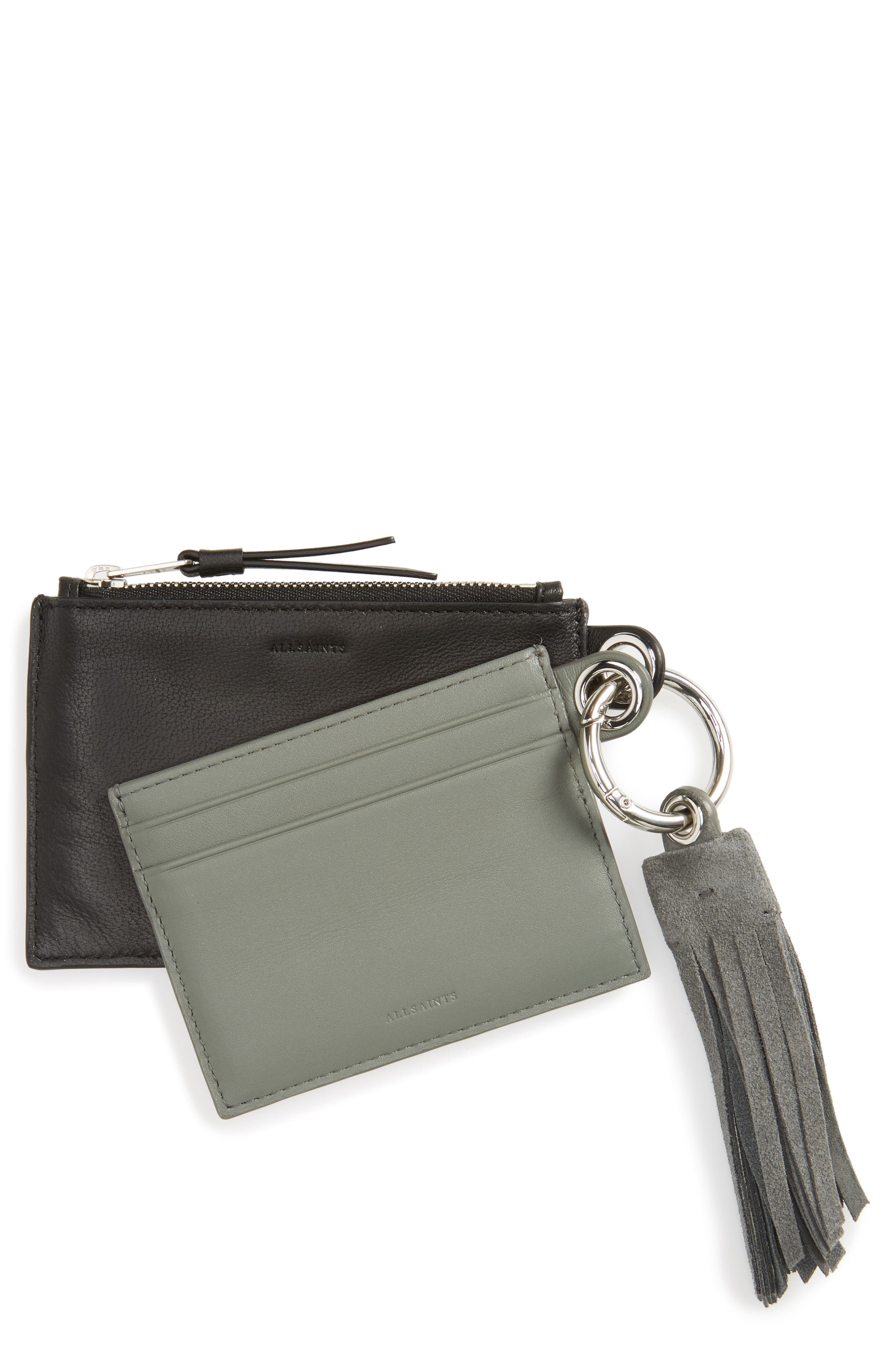 ALLSAINTS Dive Keyfob Lambskin Leather Zip Pouch & Card Case
