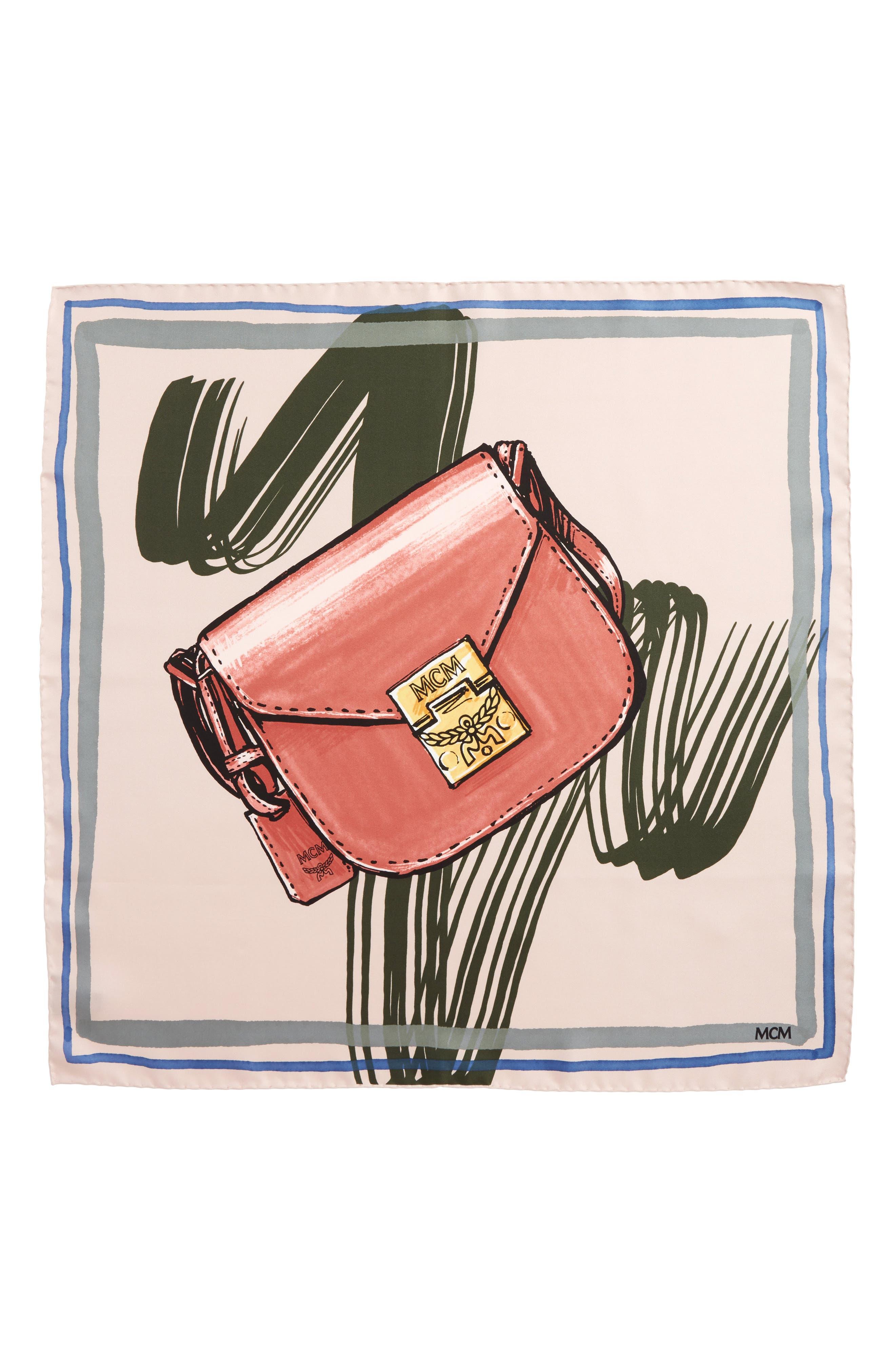 Handbag Print Square Silk Scarf,                             Main thumbnail 1, color,                             Dark Pink/ Mauve