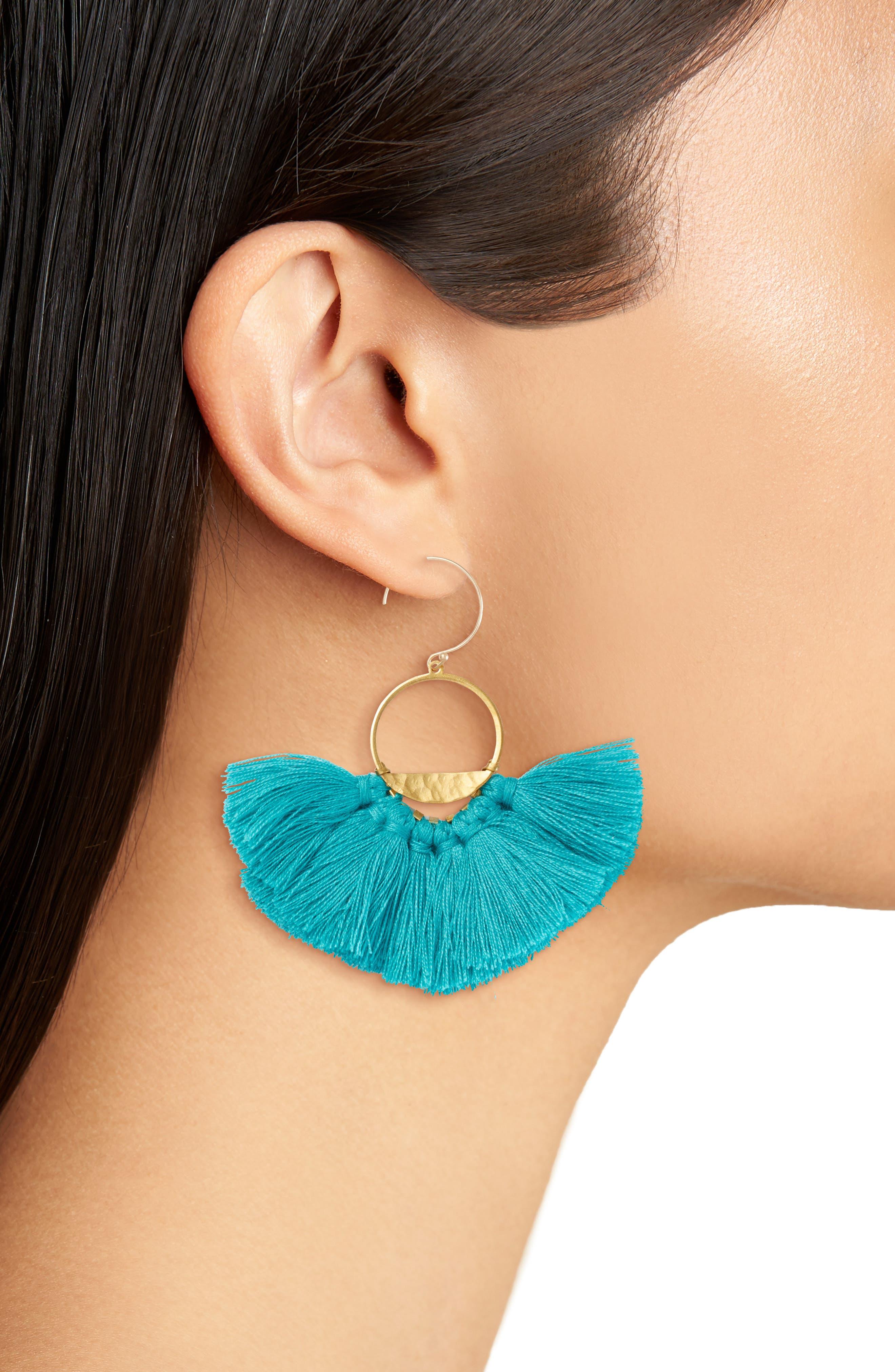 Flutter Tassel Earrings,                             Alternate thumbnail 2, color,                             Turquoise/ Gold