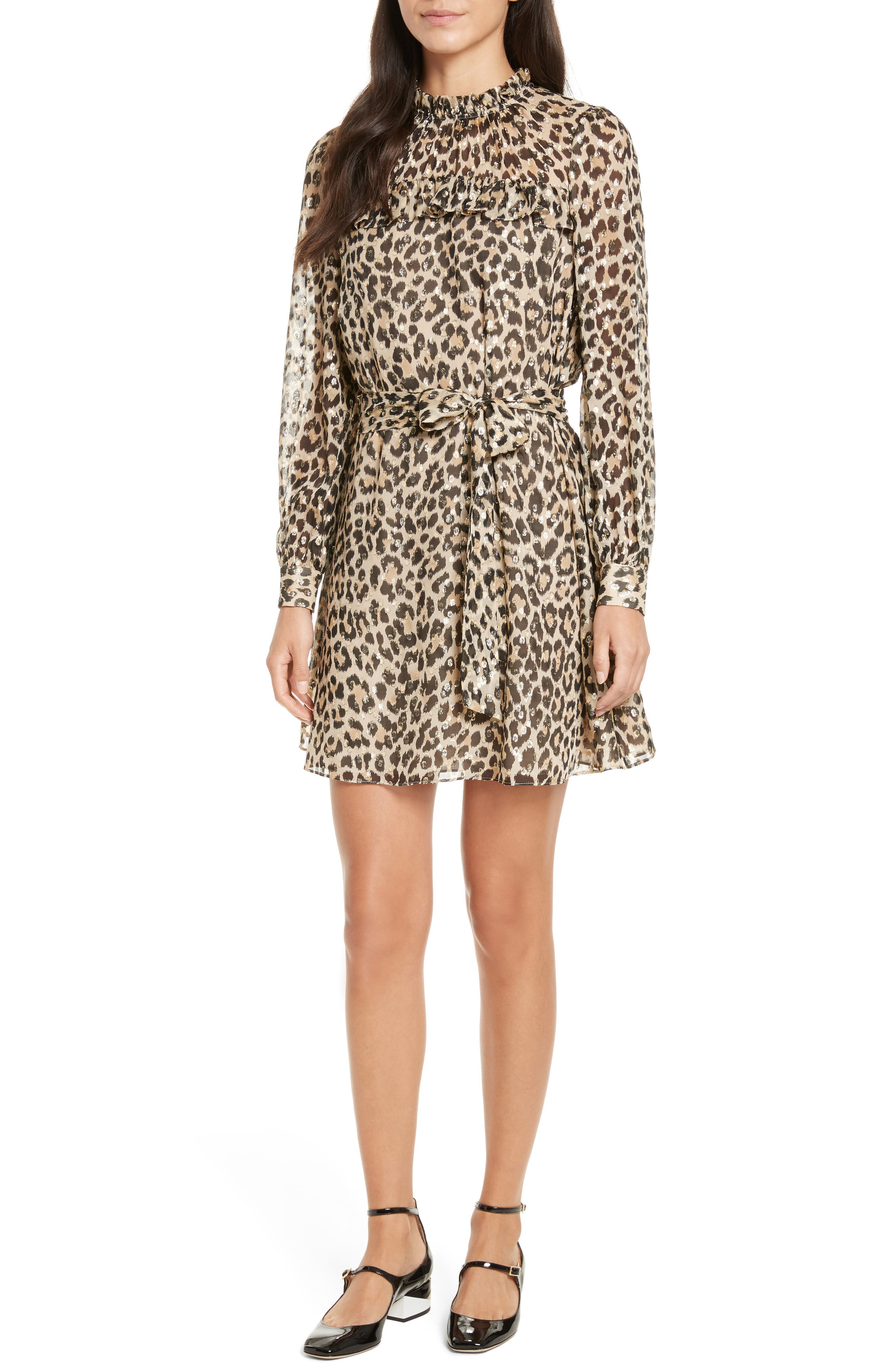 leopard clip dot minidress,                         Main,                         color, Classic Camel