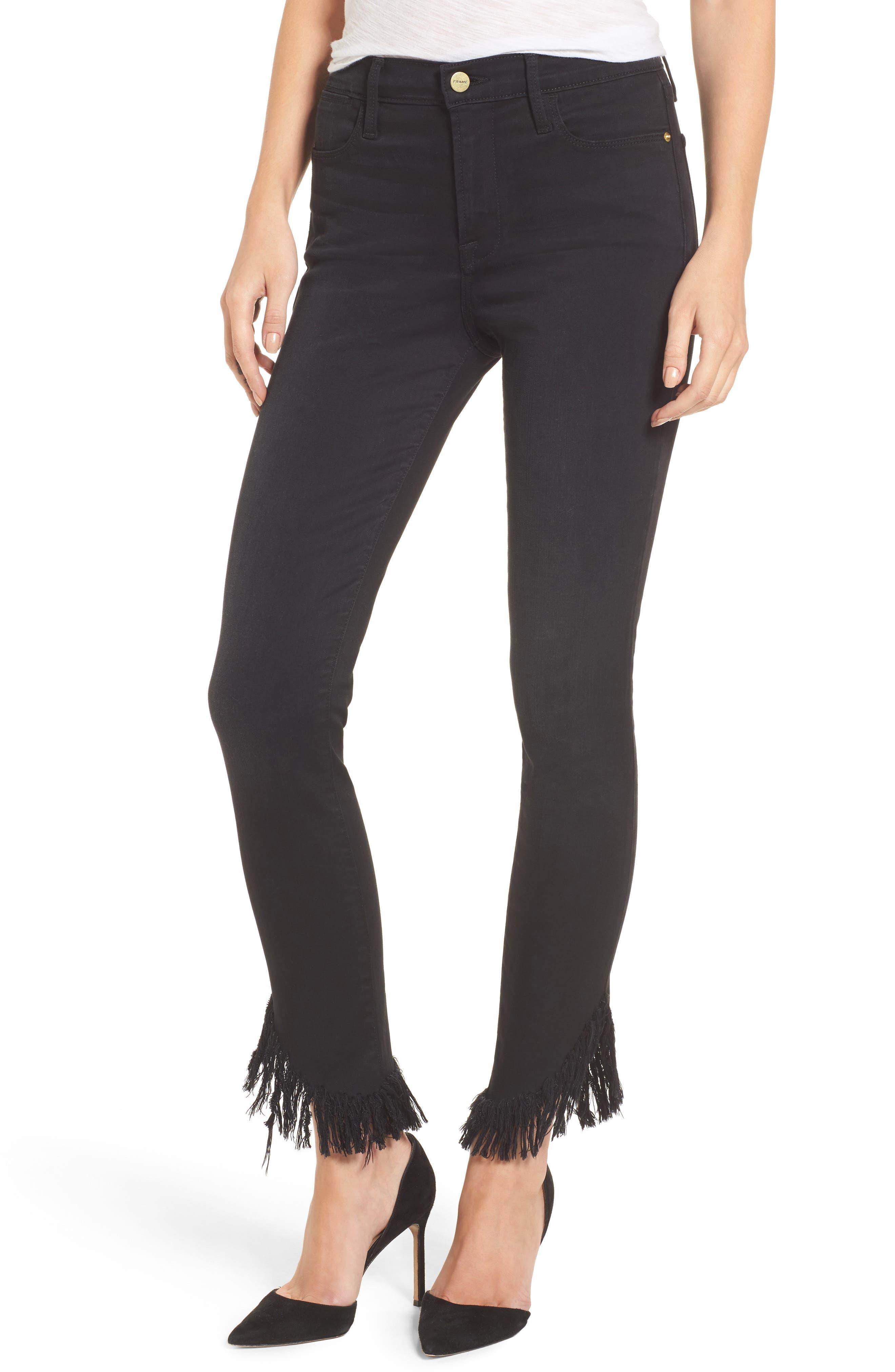 Main Image - FRAME Le High Shredded Skinny Jeans (Noir) (Nordstrom Exclusive)