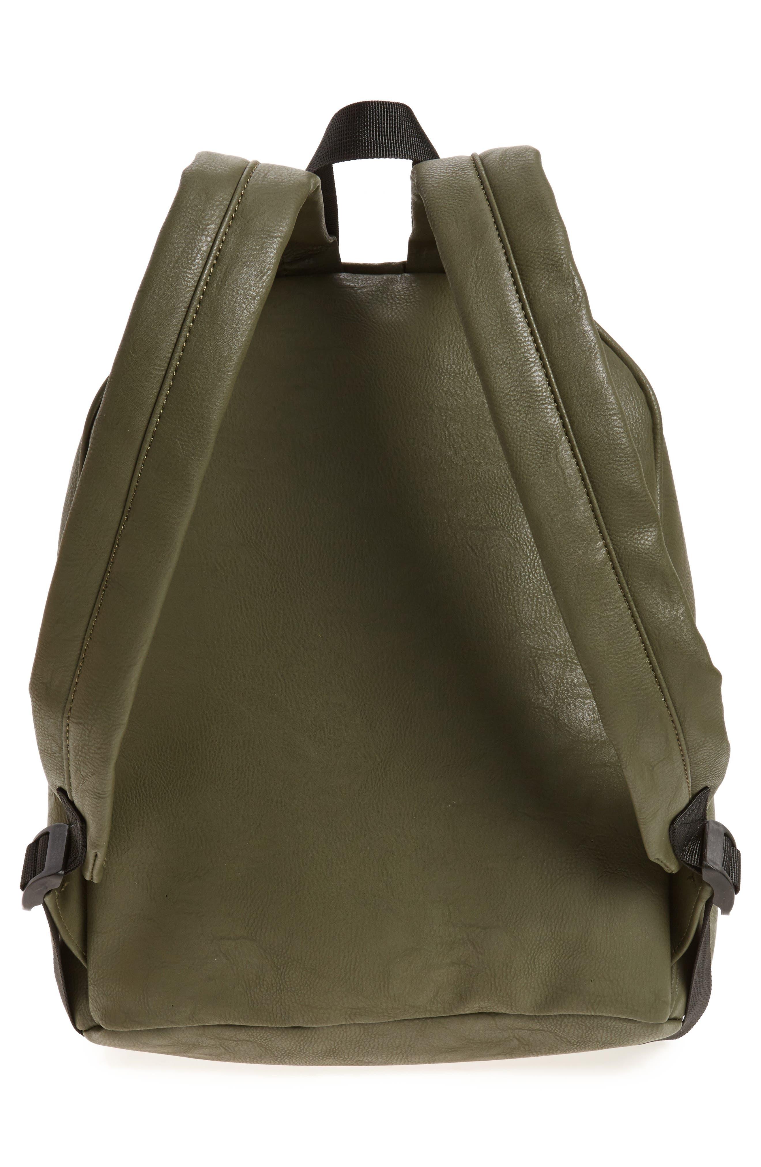 Sequin Rose Appliqué Faux Leather Backpack,                             Alternate thumbnail 3, color,                             Olive