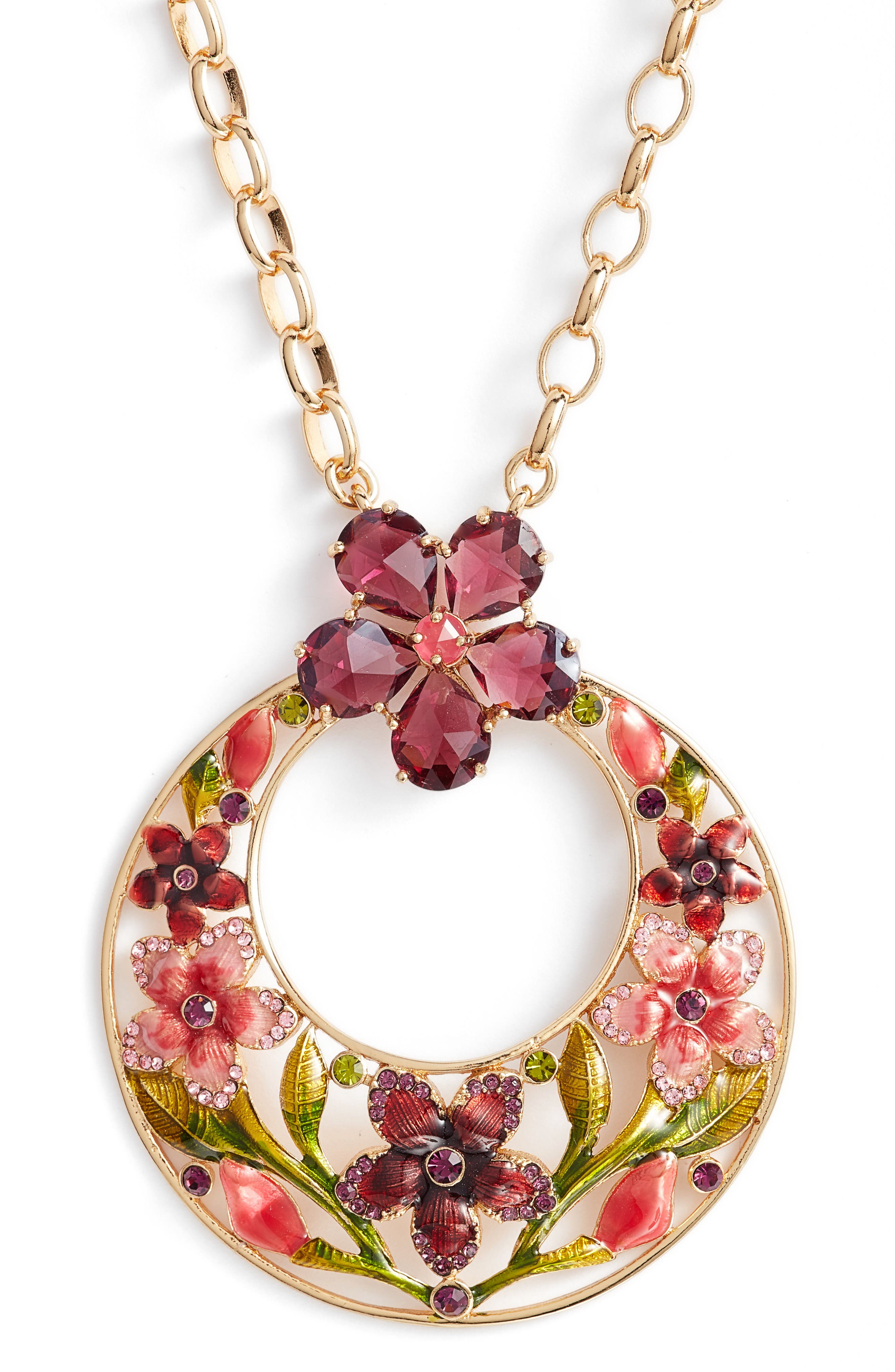 in full bloom pendant necklace,                             Alternate thumbnail 2, color,                             Gold Multi
