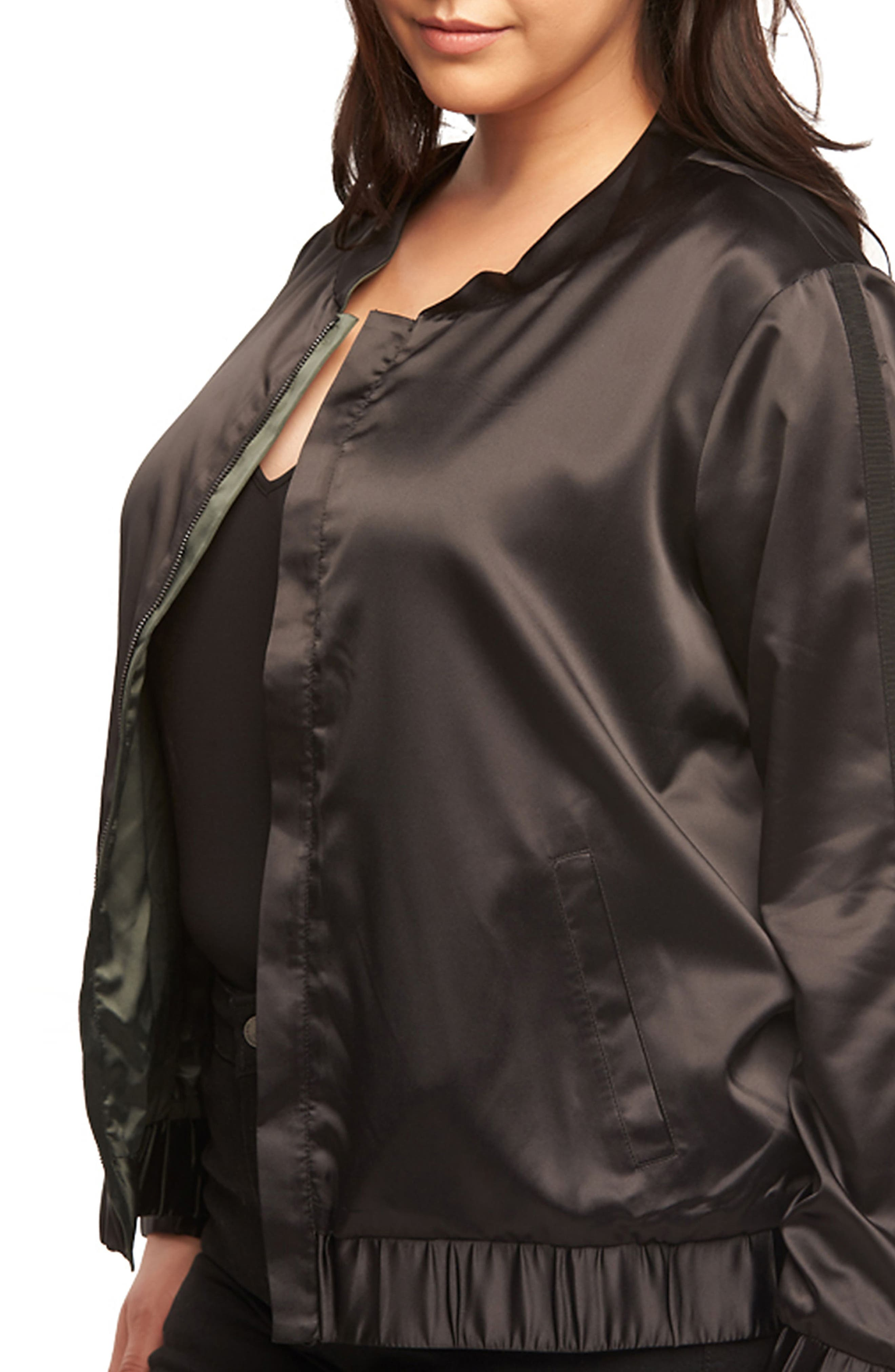 Azaria Reversible Bomber Jacket,                             Alternate thumbnail 6, color,                             Black/ Urban Chic