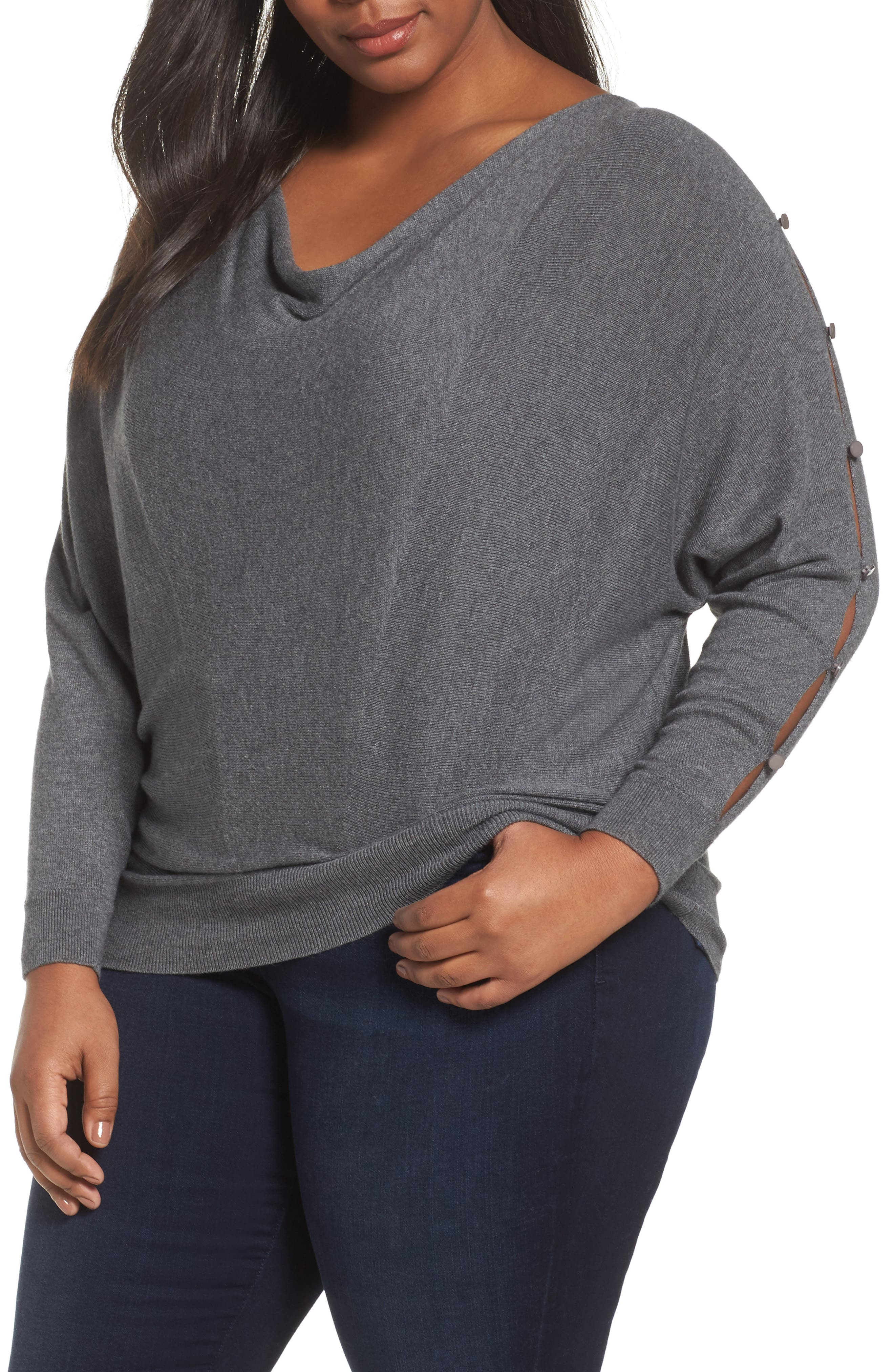 Button Sleeve Sweater,                         Main,                         color, Grey Charcoal Heather