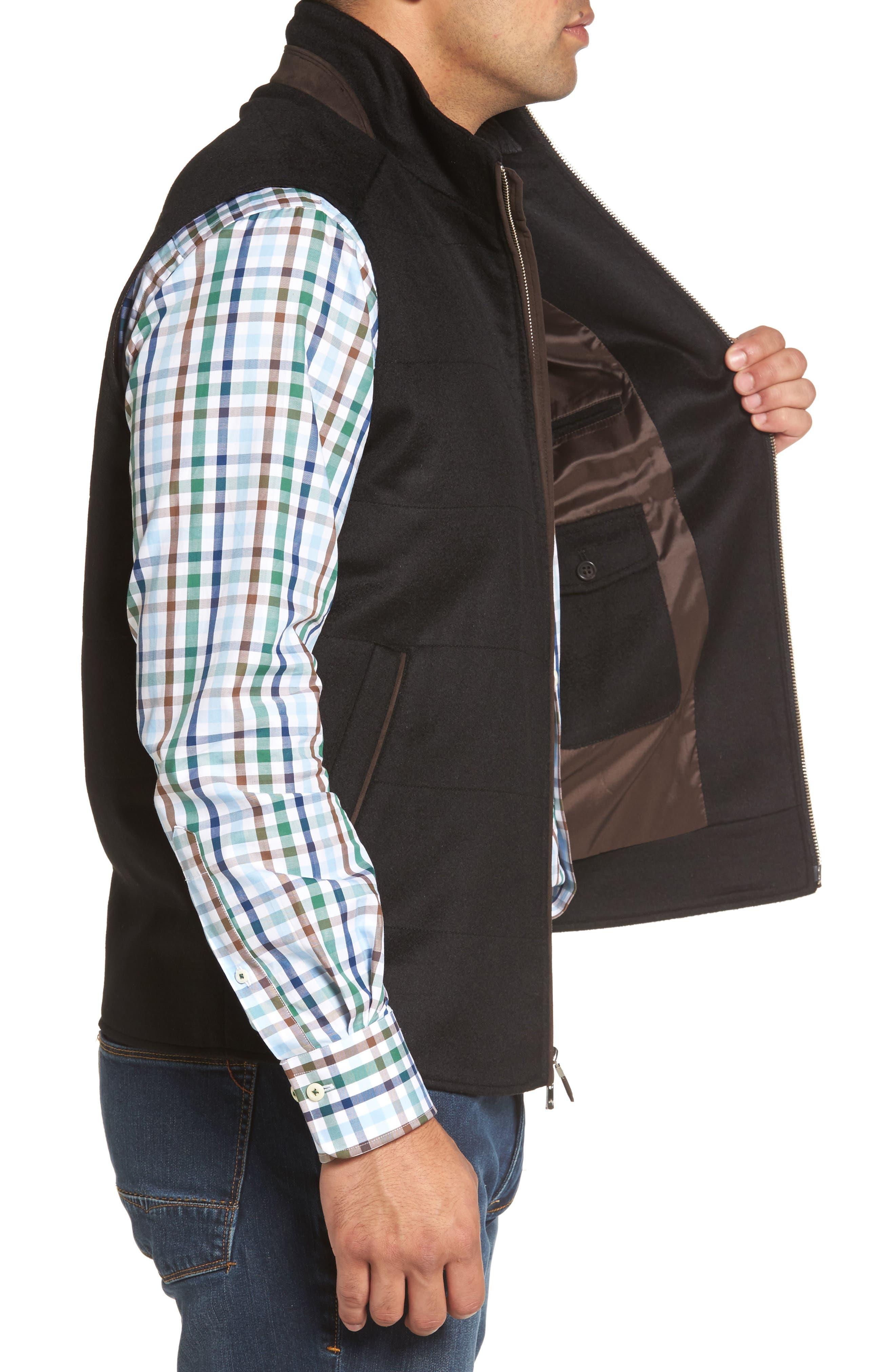 Crown Darien Wool & Cashmere Vest,                             Alternate thumbnail 3, color,                             Black
