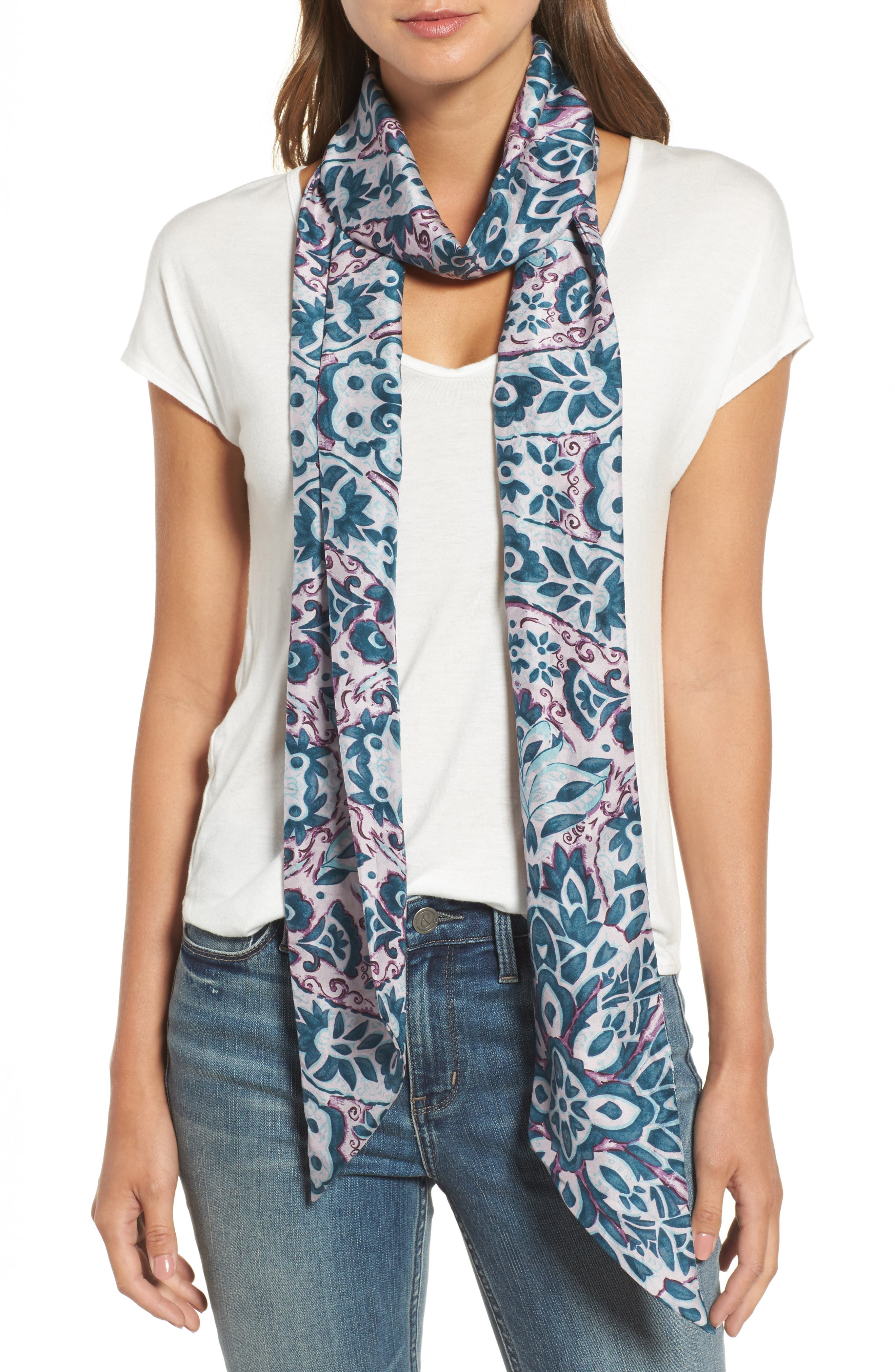 Opulent Tapestry Silk Skinny Scarf,                         Main,                         color, Pink Combo