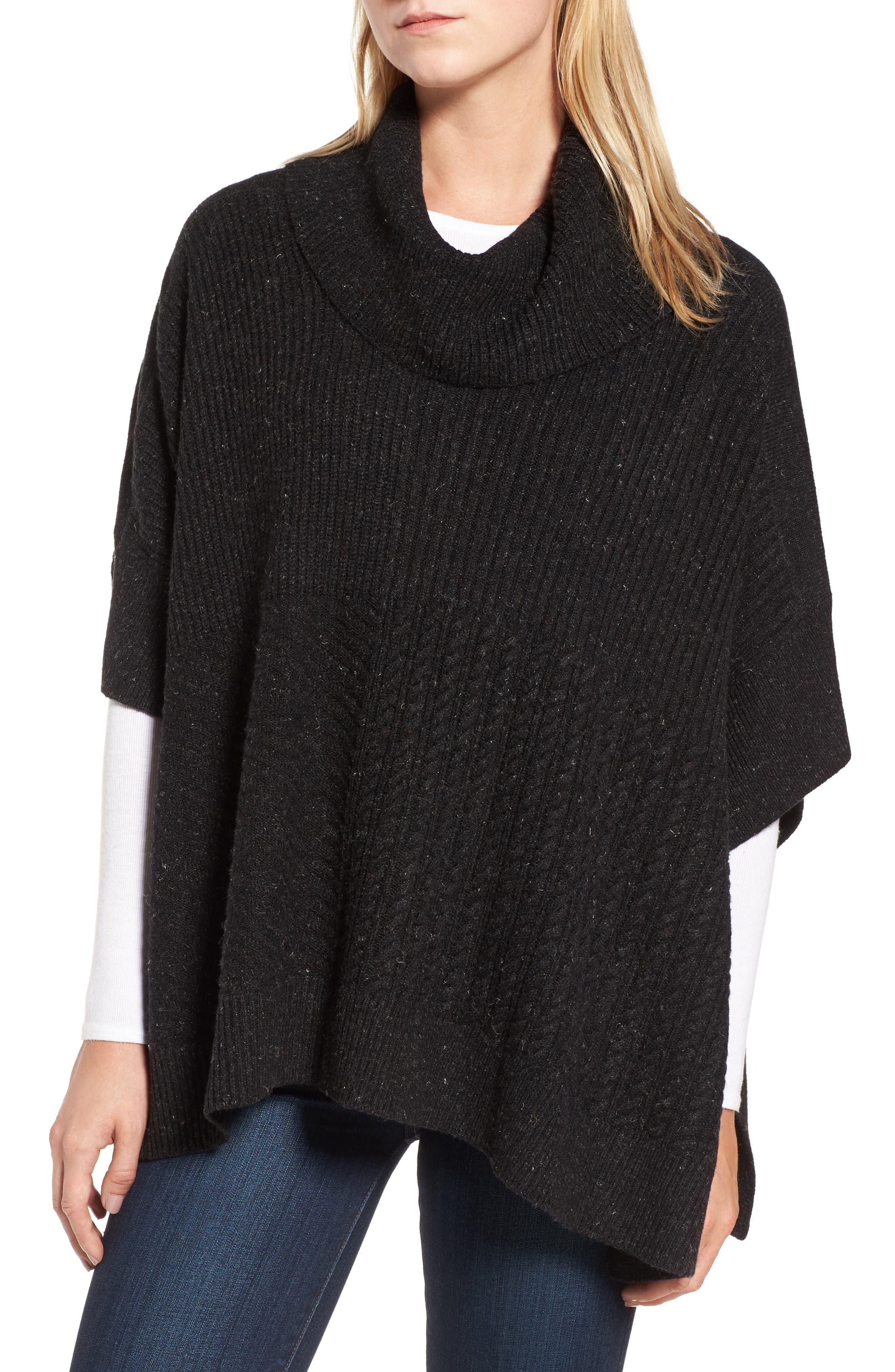 Caslon® Mixed Stitch Poncho Sweater (Regular & Petite)