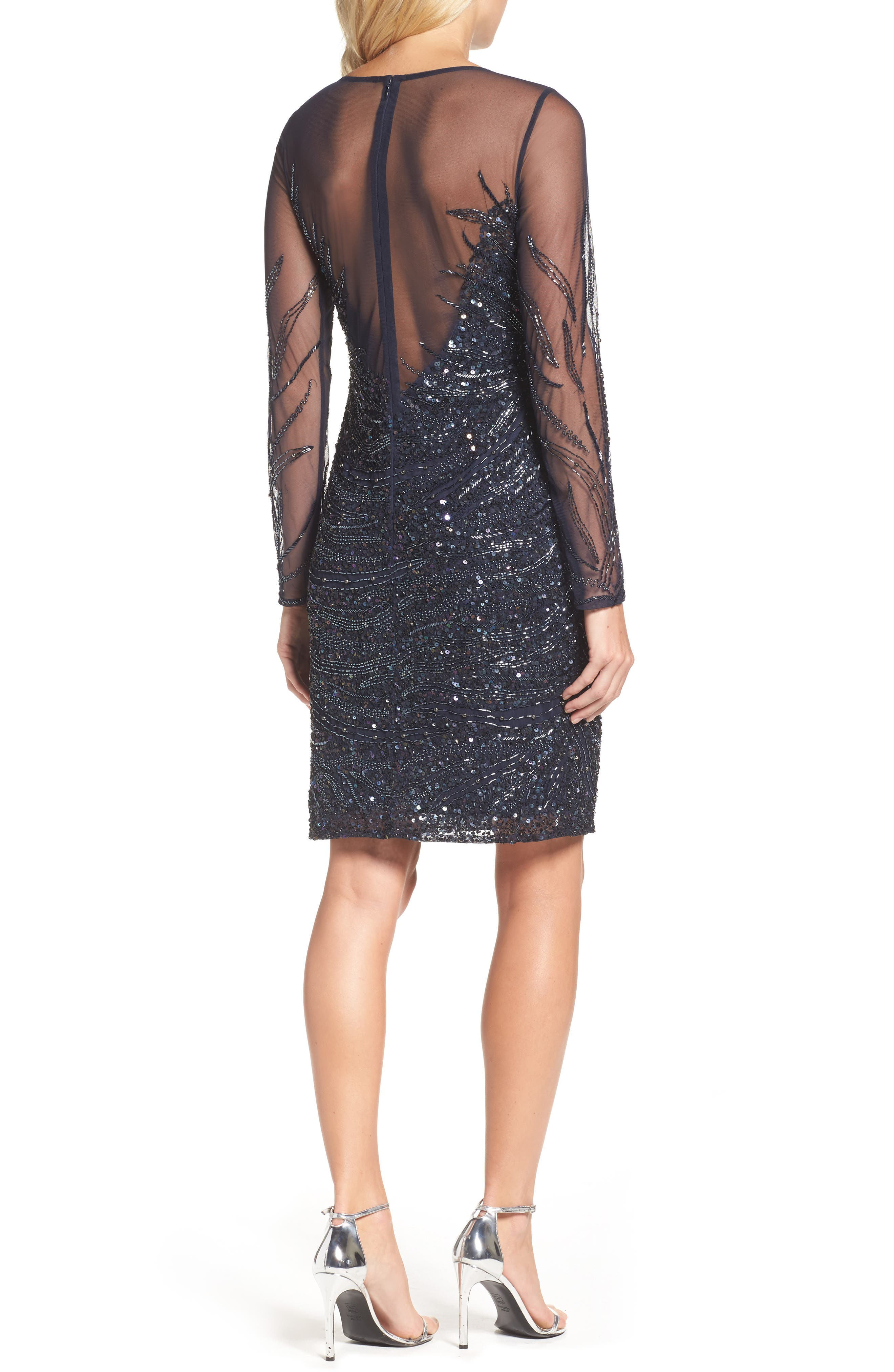 Alternate Image 2  - Adrianna Papell Beaded Illusion Sheath Dress